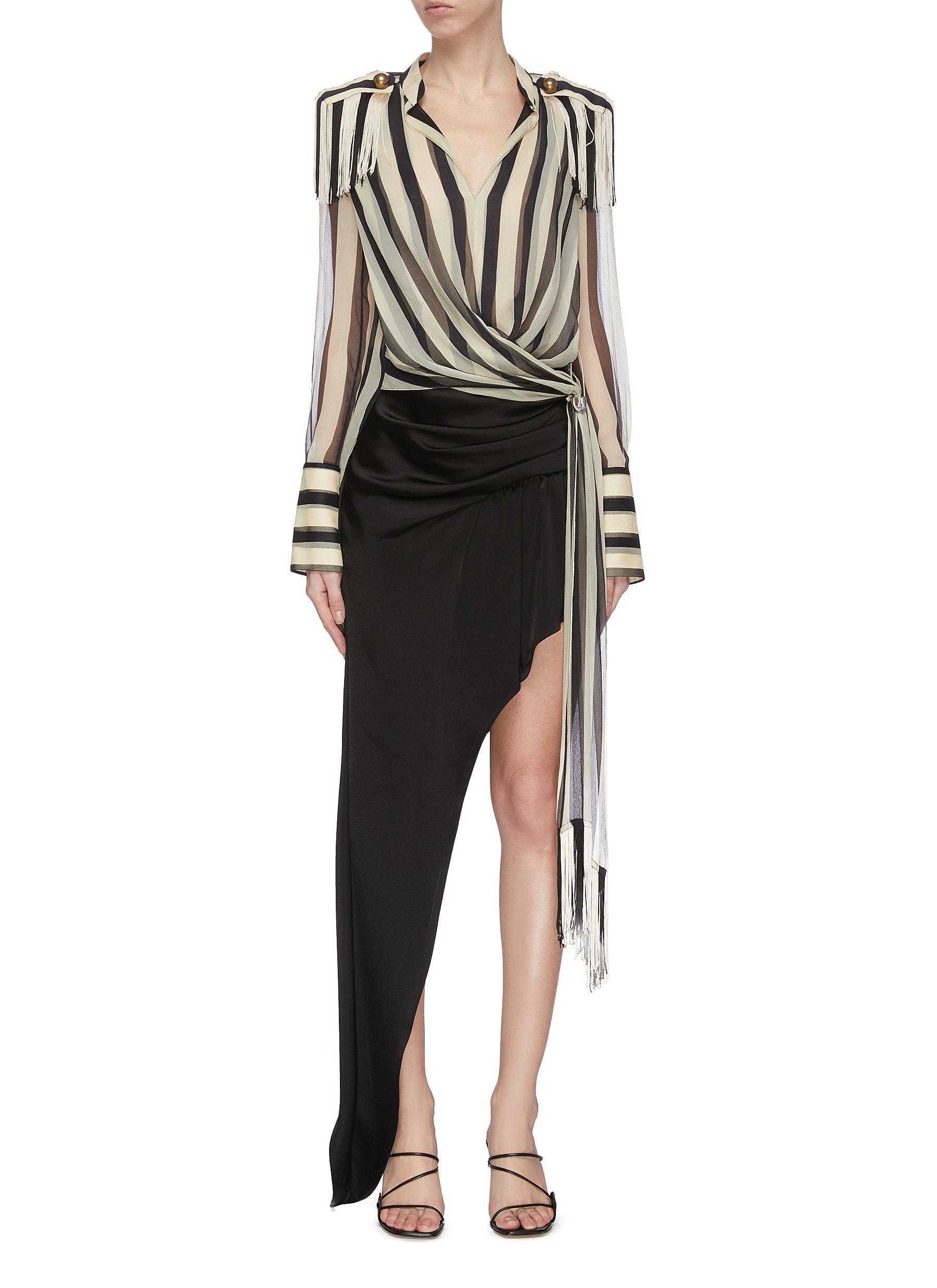 shop Monse Regalia' stripe silk chiffon wrap top online