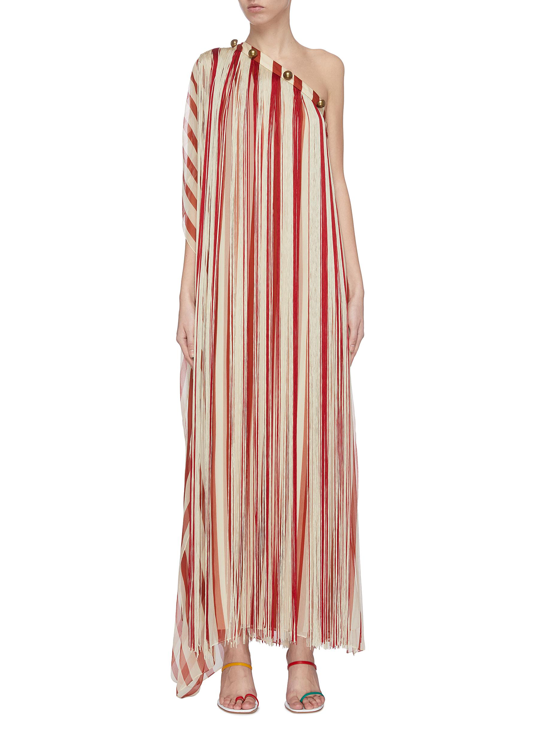 shop Monse Caftan' one shoulder fringe silk chiffon dress online