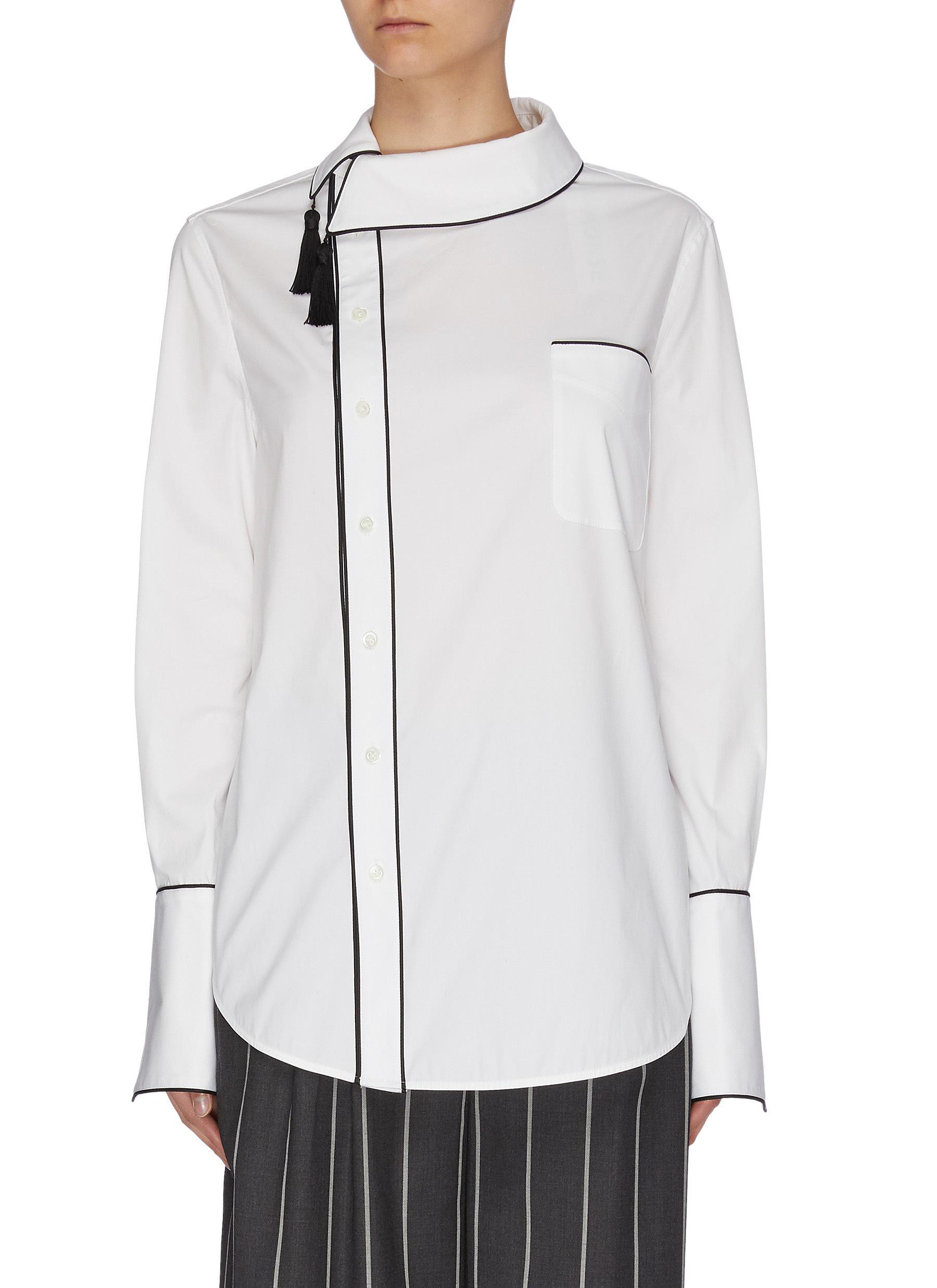 shop Monse Side collar tassel shirt online