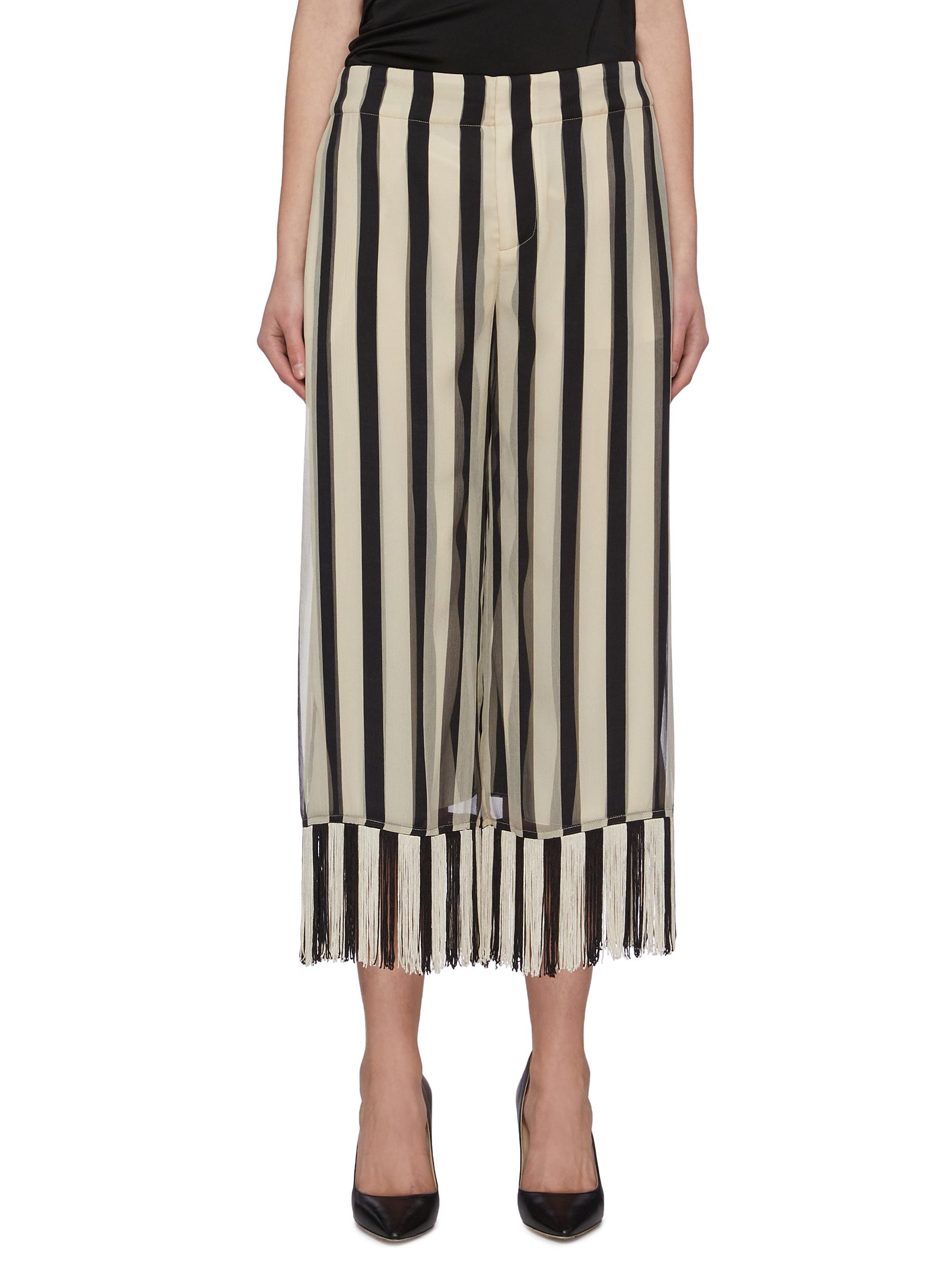 Buy Monse Pants & Shorts Stripe chiffon fringe culotte pants