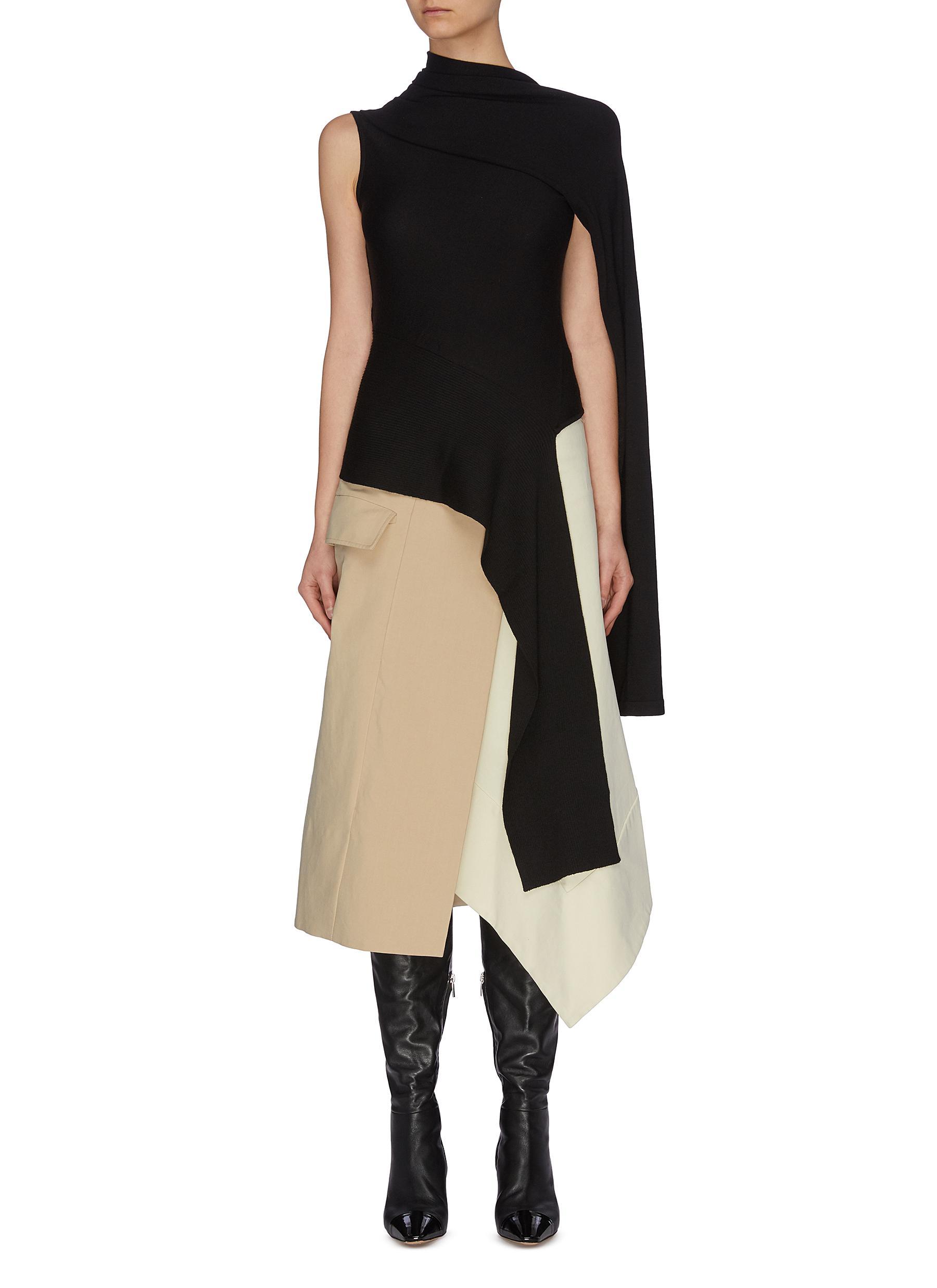 shop Monse Asymmetric drape merino wool top online