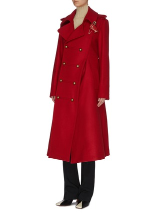 Detail View - Click To Enlarge - MONSE - Asymmetric slit hem double breasted coat