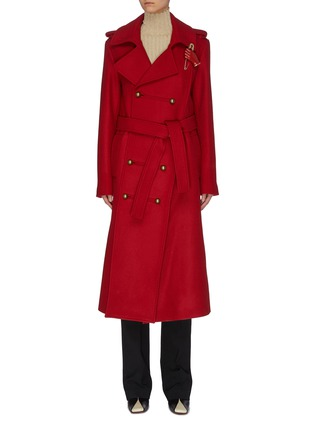 Main View - Click To Enlarge - MONSE - Asymmetric slit hem double breasted coat