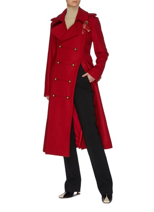 Figure View - Click To Enlarge - MONSE - Asymmetric slit hem double breasted coat