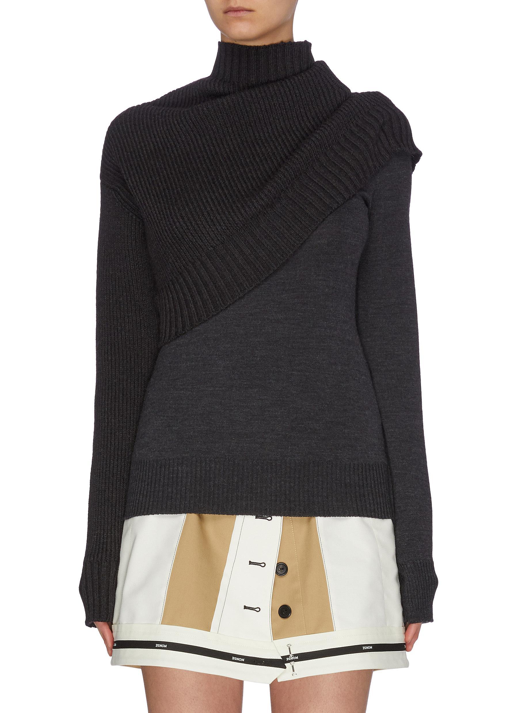 shop Monse Mock neck rib knit panel sweater online