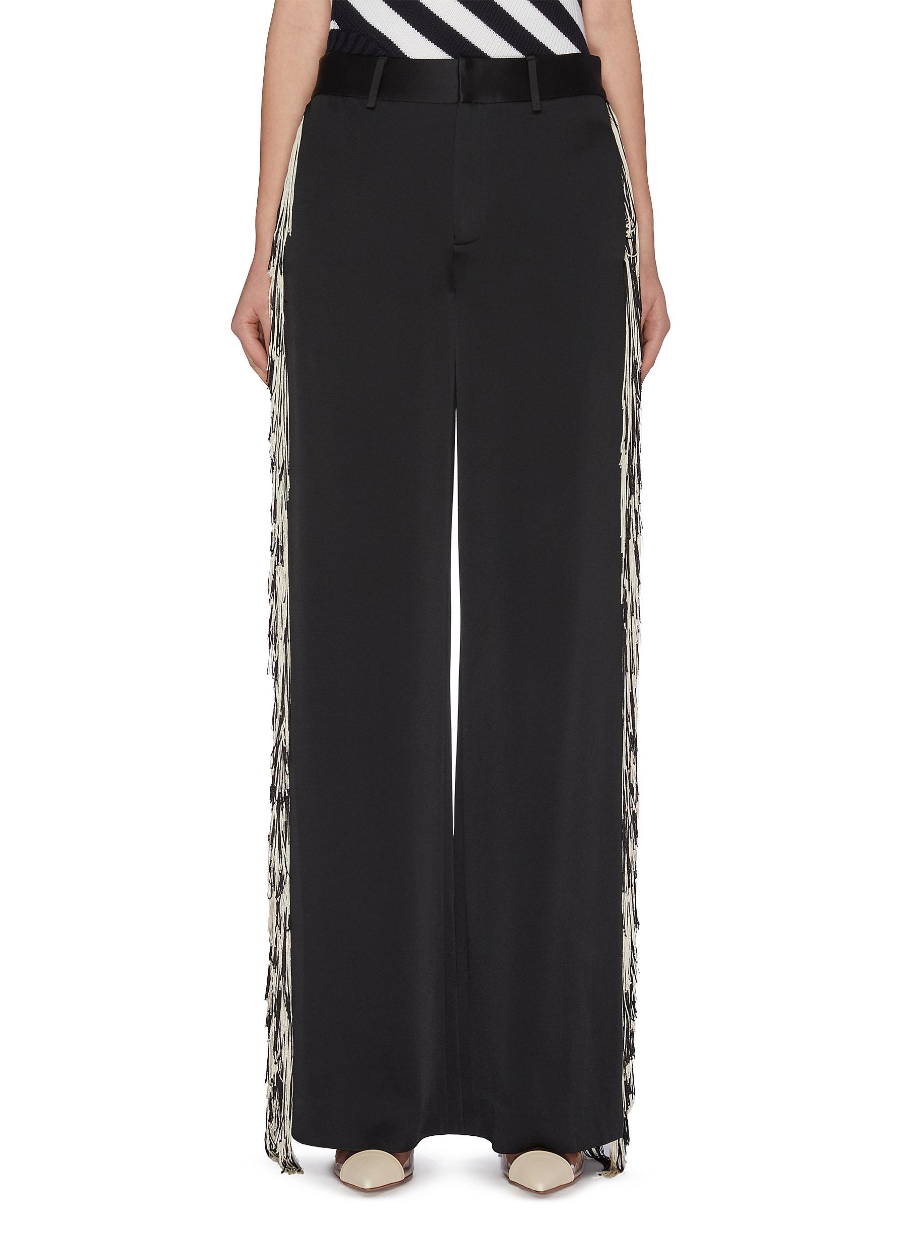 shop Monse Fringe outseam satin wide leg pants online