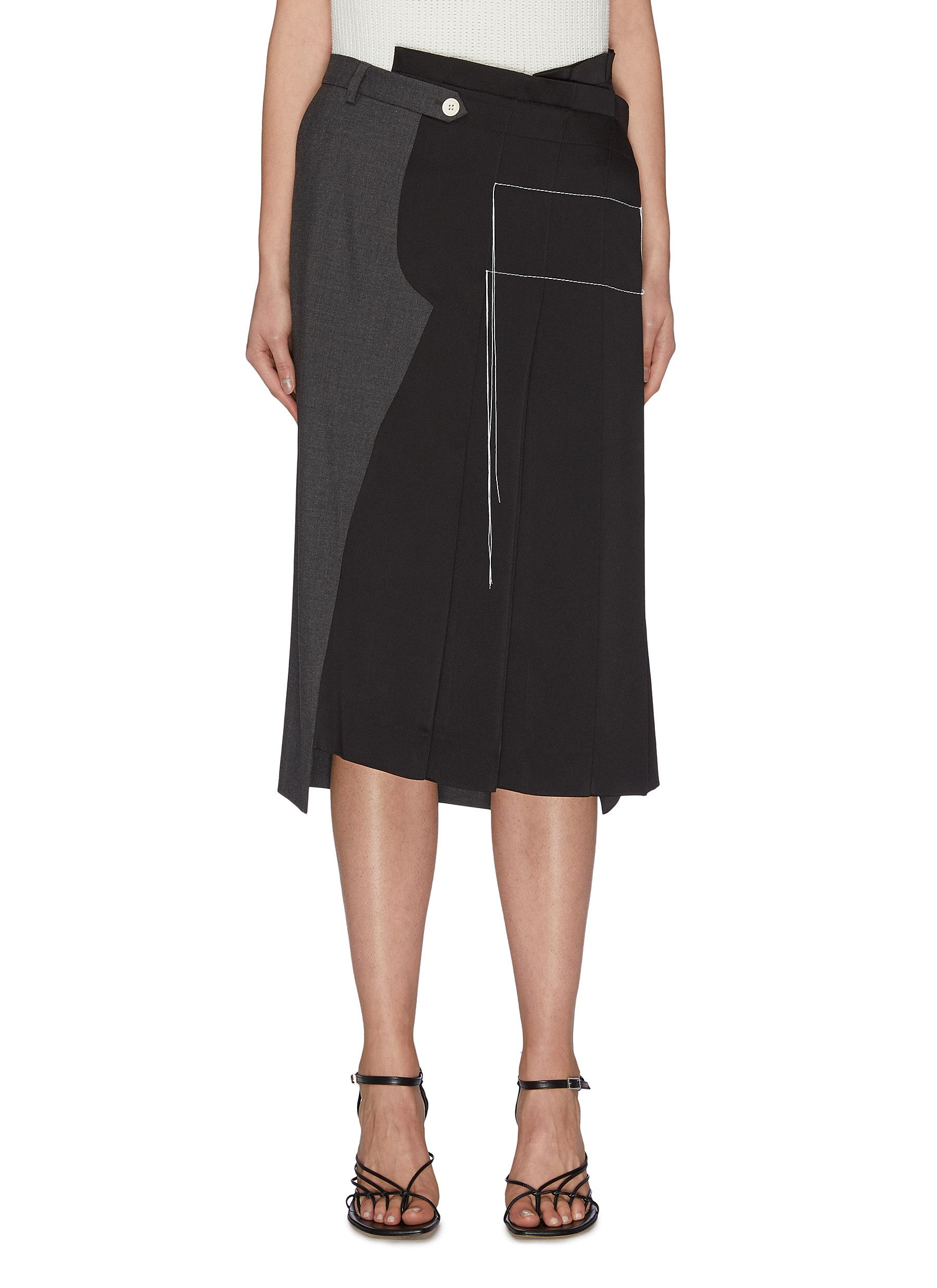 shop Monse Contrast topstitch asymmetric pleated skirt online