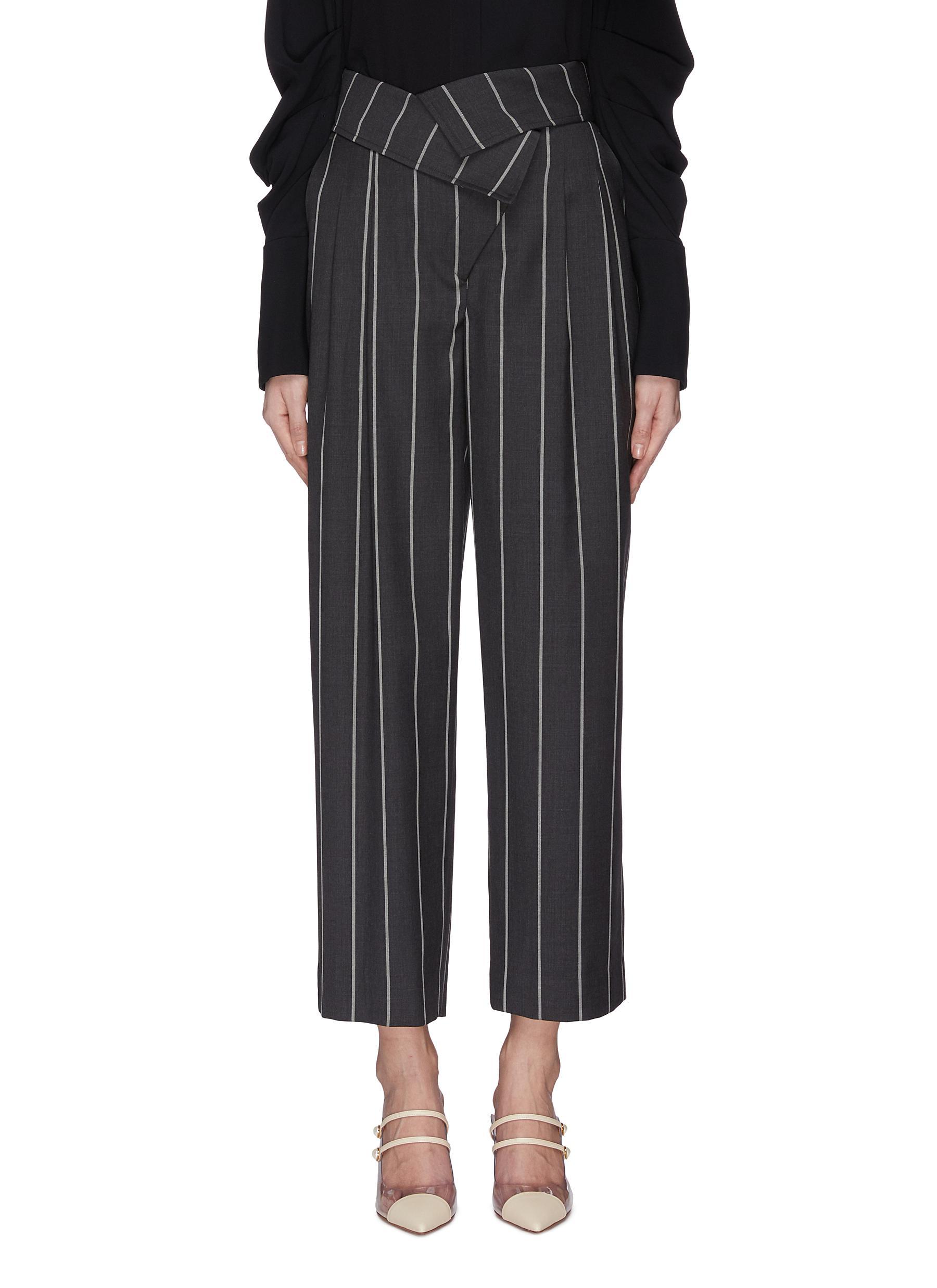 shop Monse Asymmetric foldover waist pinstripe pants online