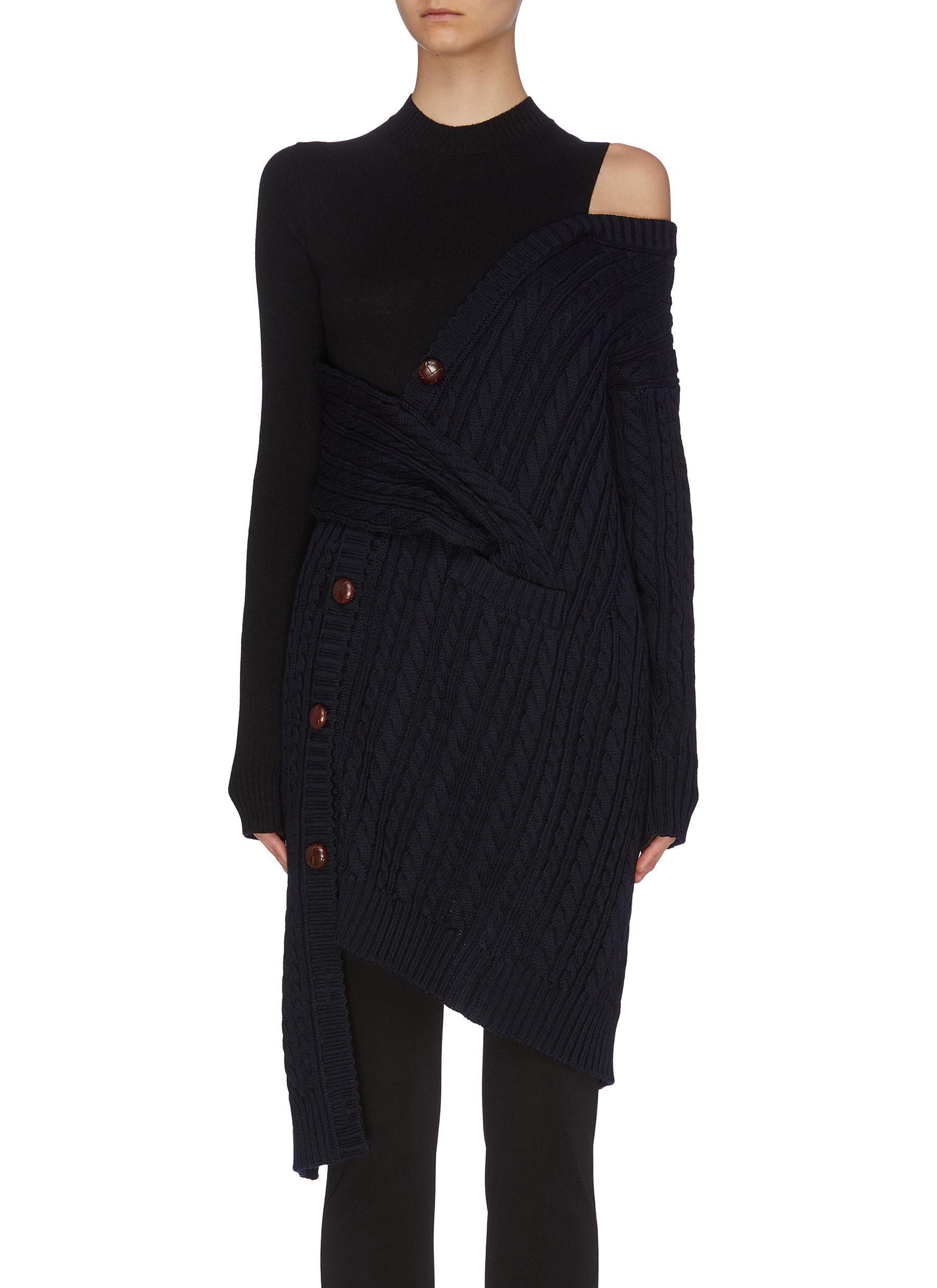 shop Monse Two tone shoulder cut out asymmetric merino wool knit top online