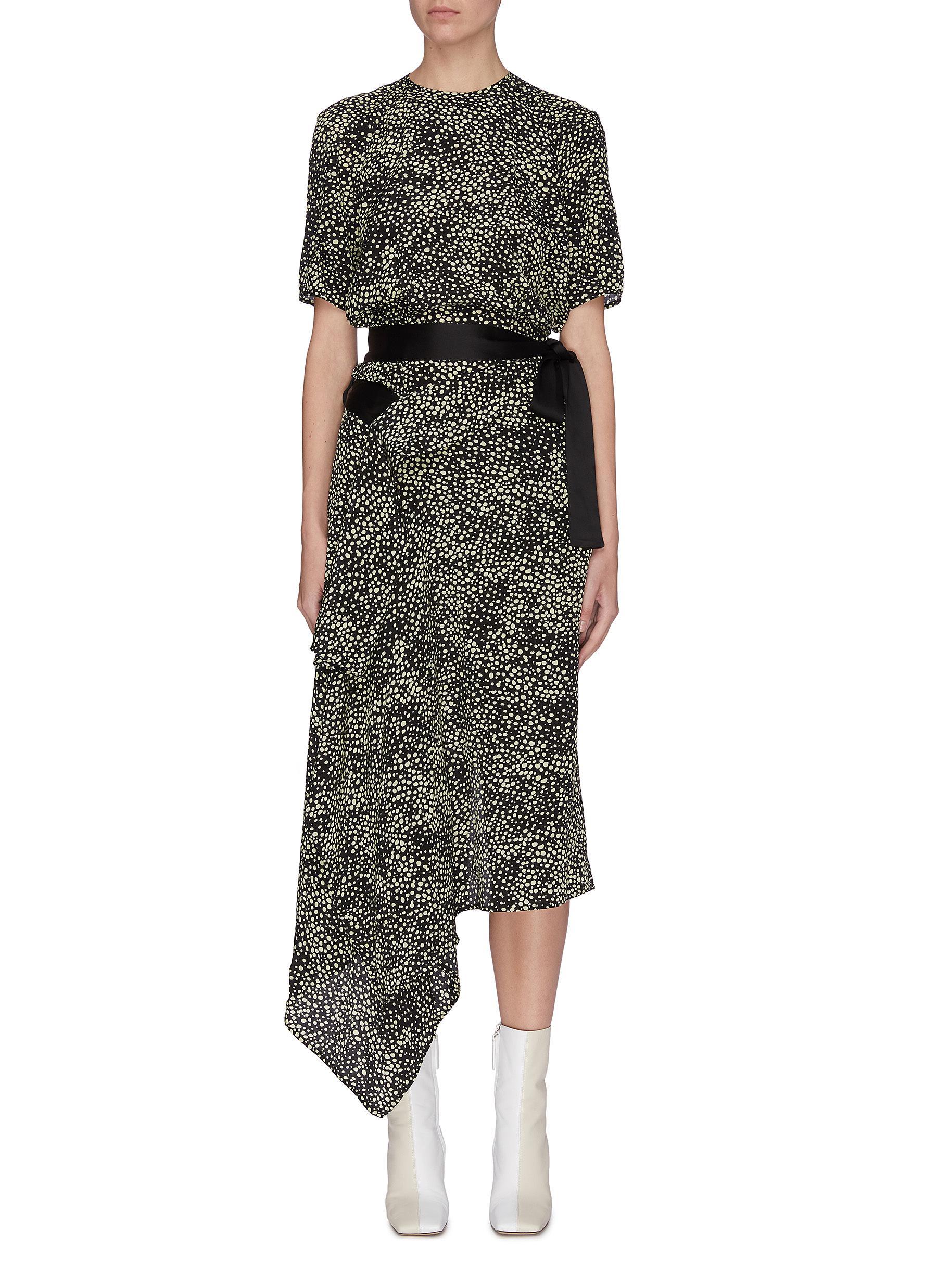 shop Petar Petrov Contrast belt graphic print wrap around dress online