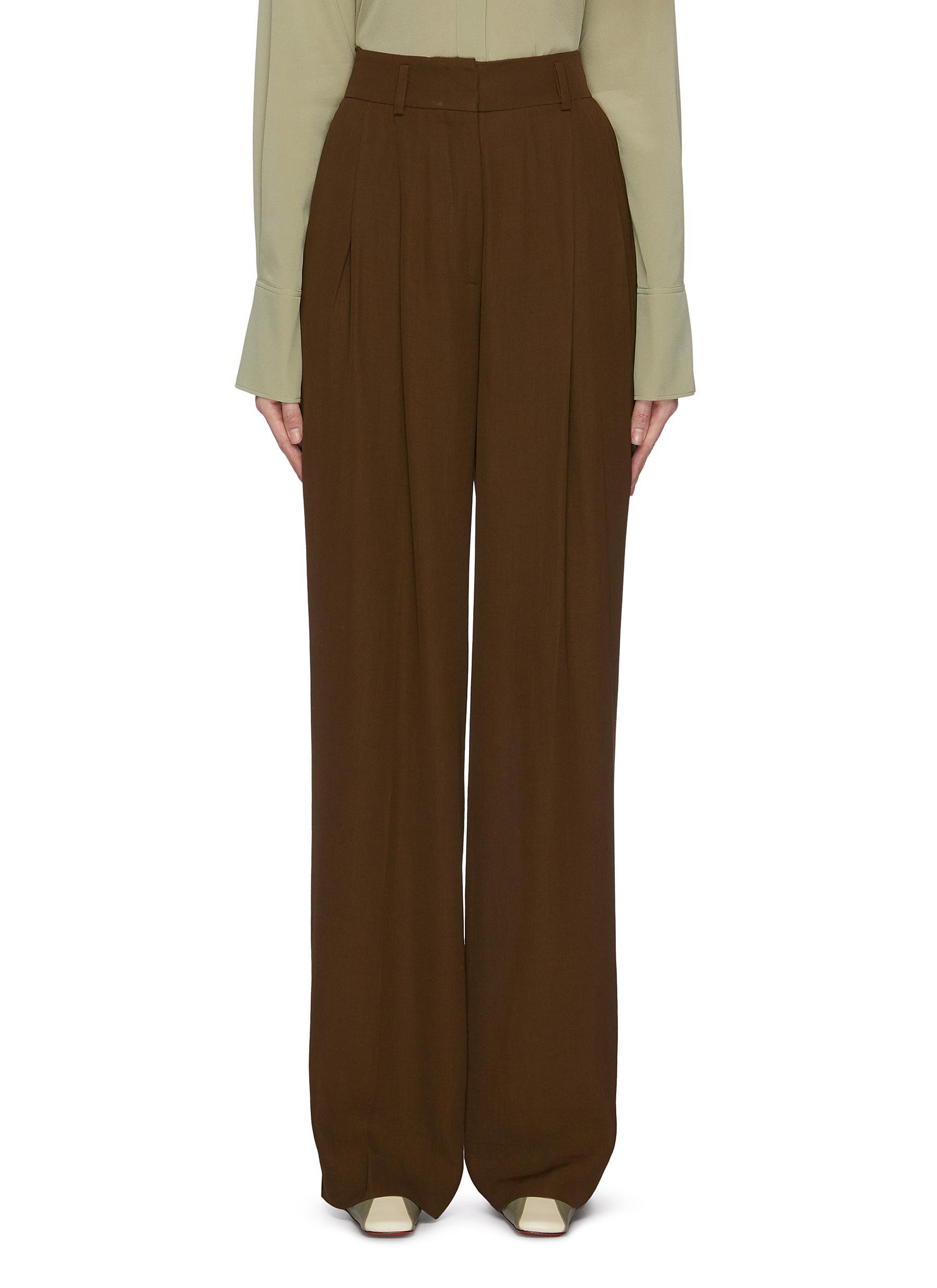 Buy Petar Petrov Pants & Shorts Double pleat wide leg pants