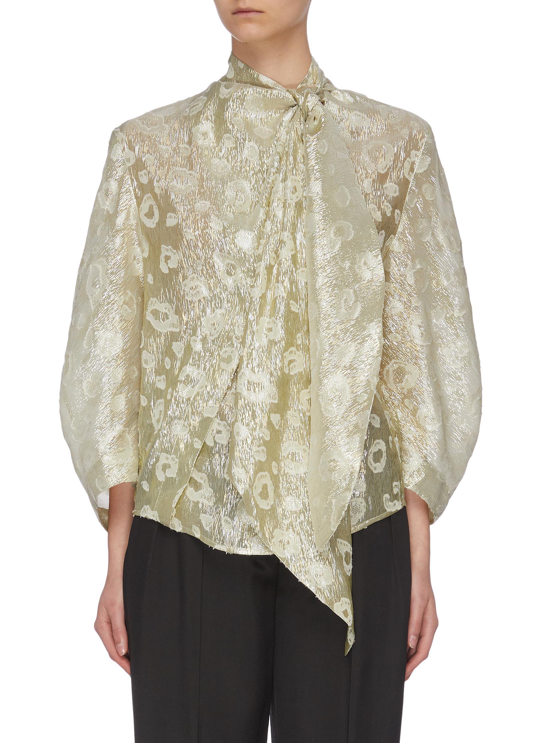 shop Petar Petrov Asymmetric neck tie metallic blouse online