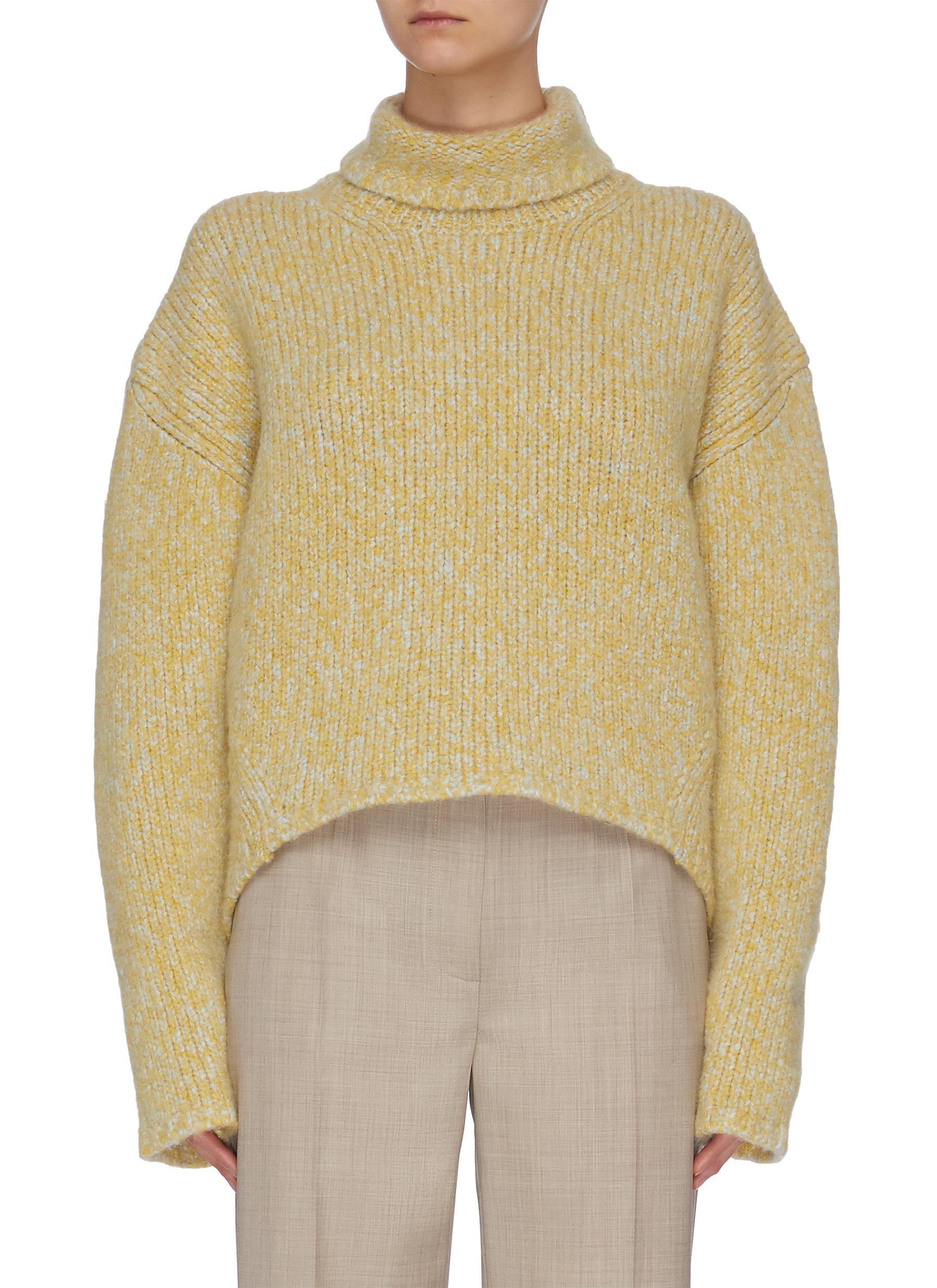 shop Petar Petrov Oversized crop cashmere silk blend turtleneck sweater online