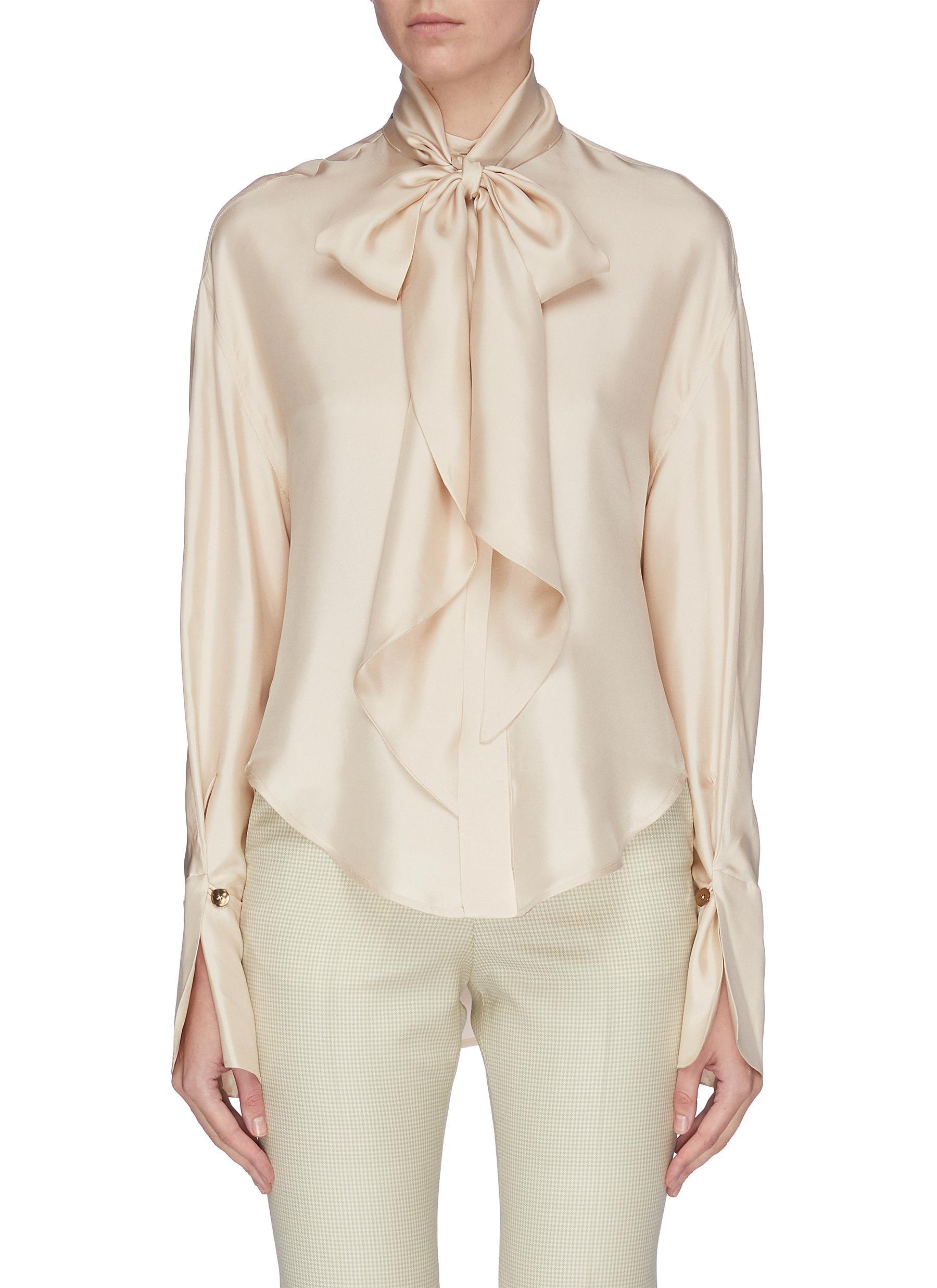 Buy Petar Petrov Tops Detachable scarf silk blouse
