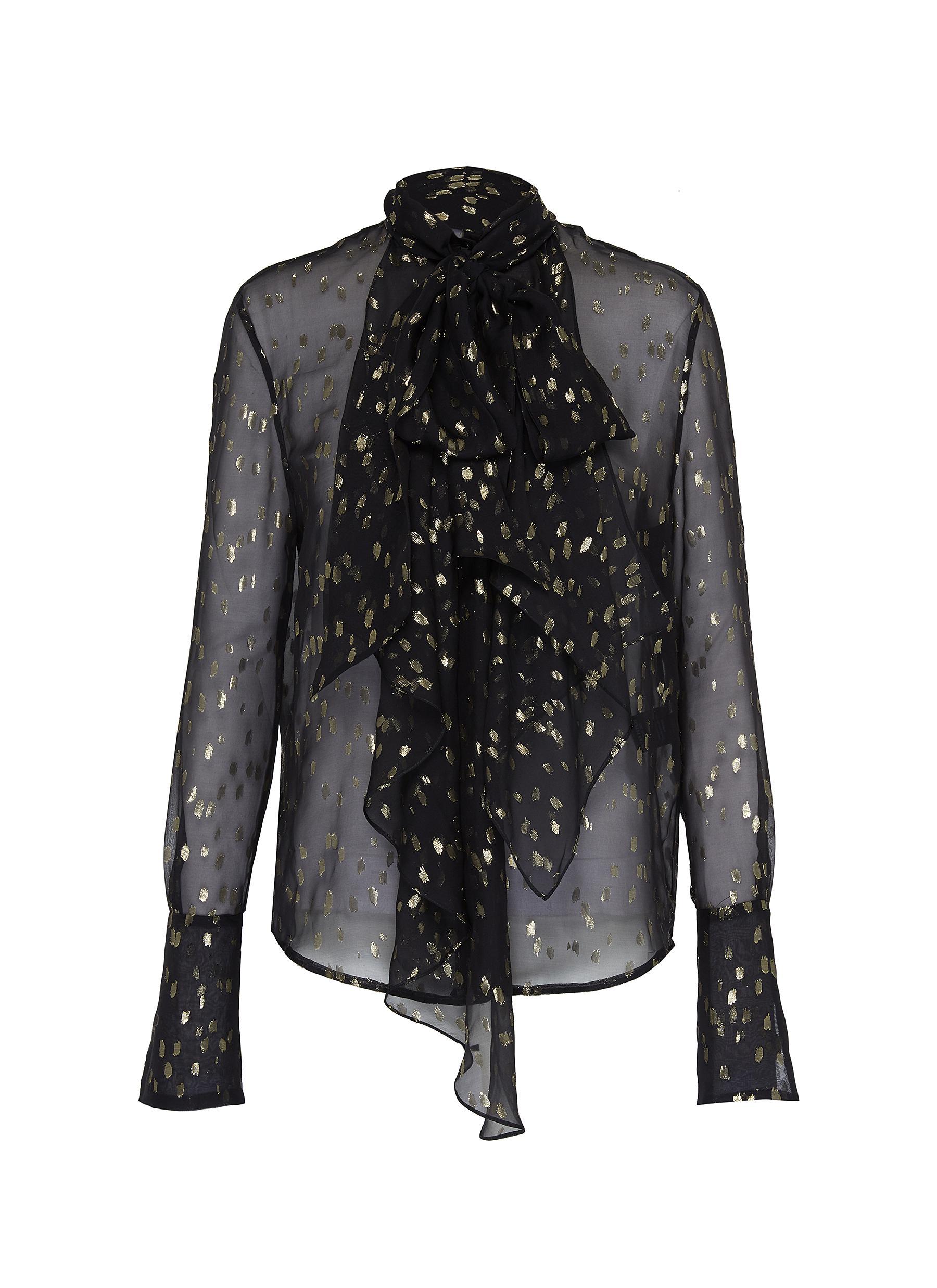 shop Petar Petrov Jabot detail metallic print sheer blouse online