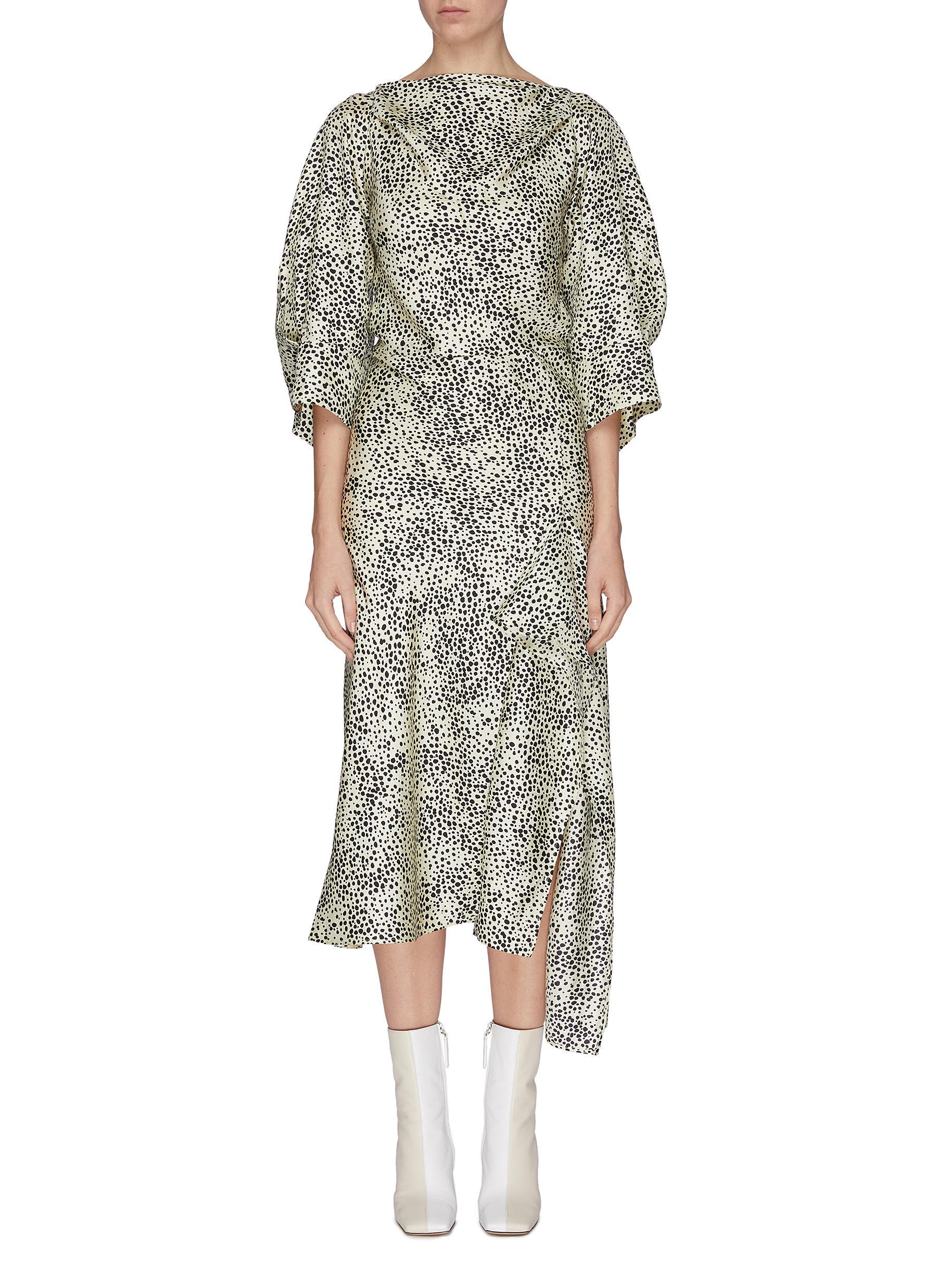 shop Petar Petrov Open back graphic print silk dress online