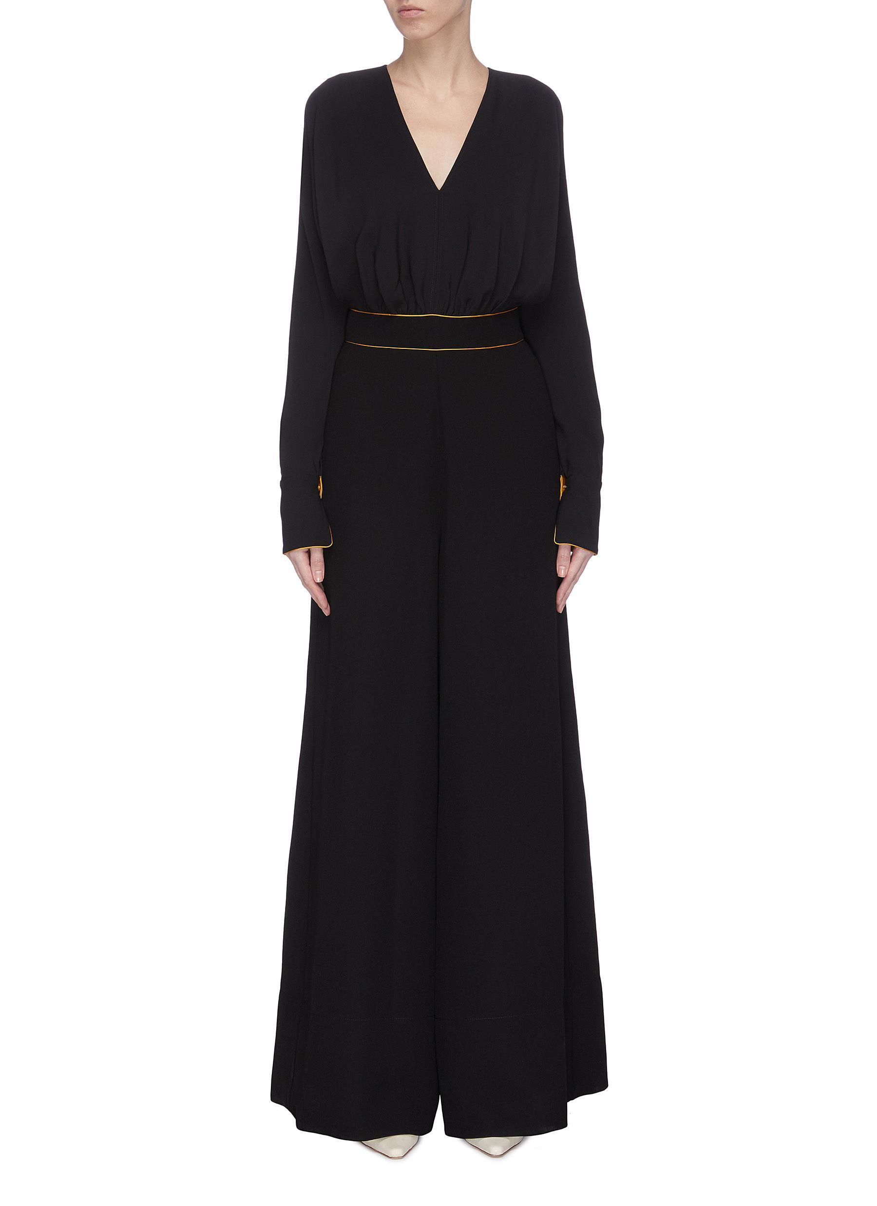 Buy Roksanda Pants & Shorts 'Krisna' contrast waistband silk jumpsuit