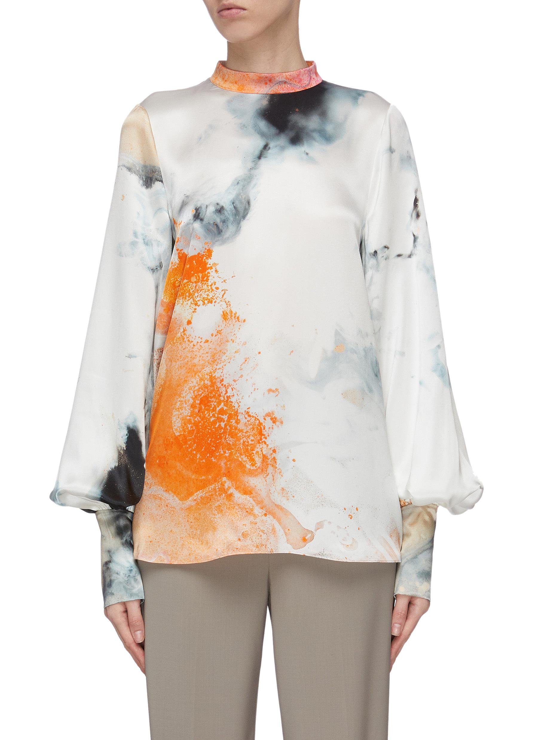 Buy Roksanda Tops 'Cala' graphic print bishop sleeve silk top