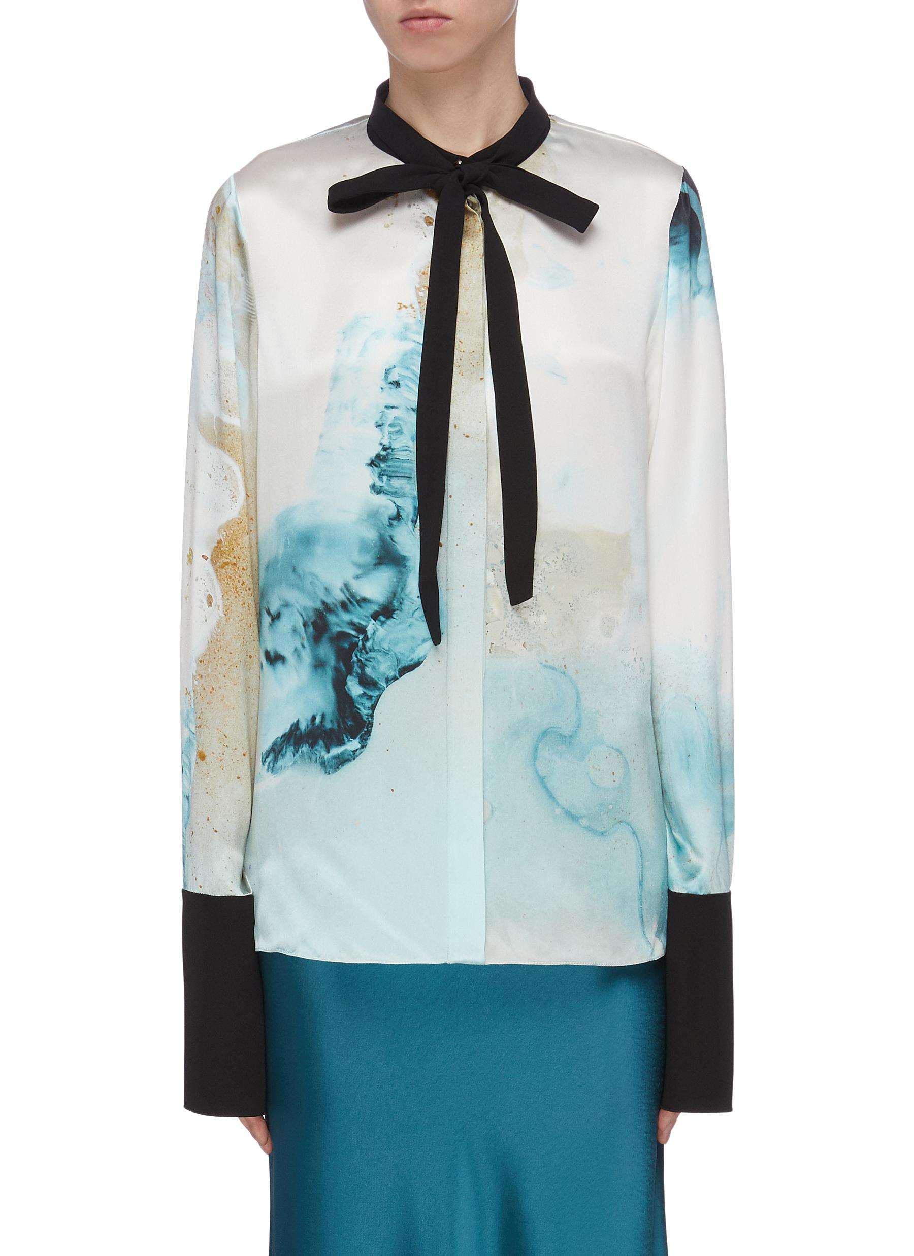 Buy Roksanda Tops 'Carone' abstract print contrast ribbon cuff shirt
