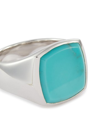 Detail View - Click To Enlarge - TOM WOOD - 'Cushion Turquoise' silver signet ring – Size 58