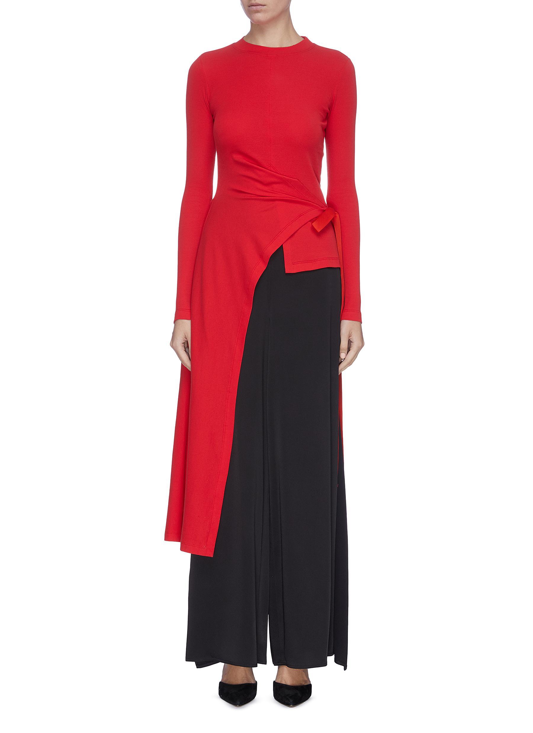 shop Rosetta Getty Asymmetric drape waist tie wrap top online