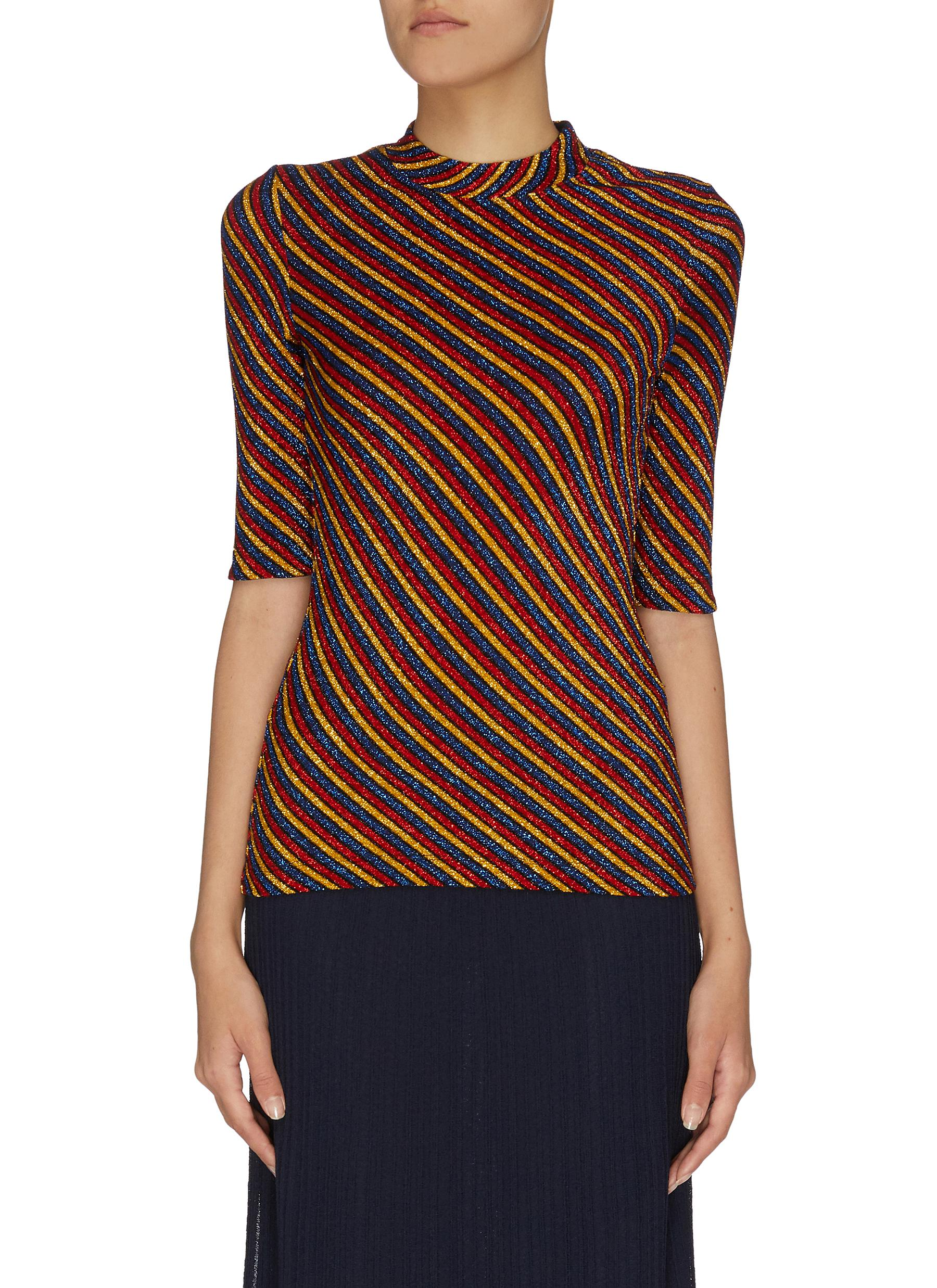 Buy Rosetta Getty Knitwear Sequin Embellished Stripe Crop Sleeve Top