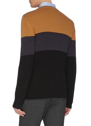 Back View - Click To Enlarge - EQUIL - Colourblock panel wool knit sweater