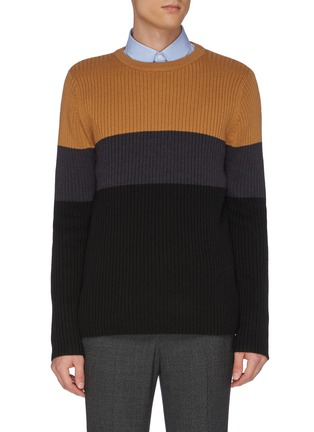 Main View - Click To Enlarge - EQUIL - Colourblock panel wool knit sweater