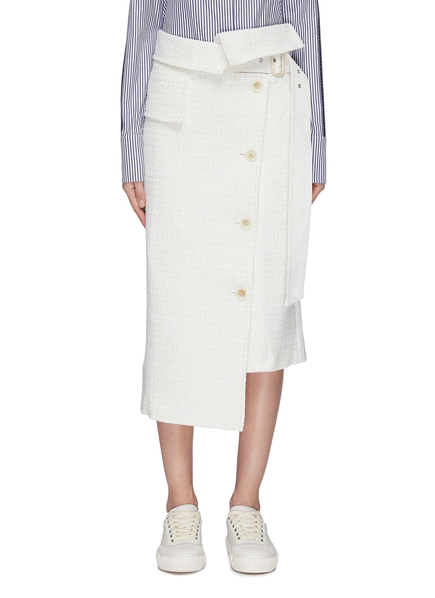 shop The Keiji Denim back asymmetric tweed skirt online