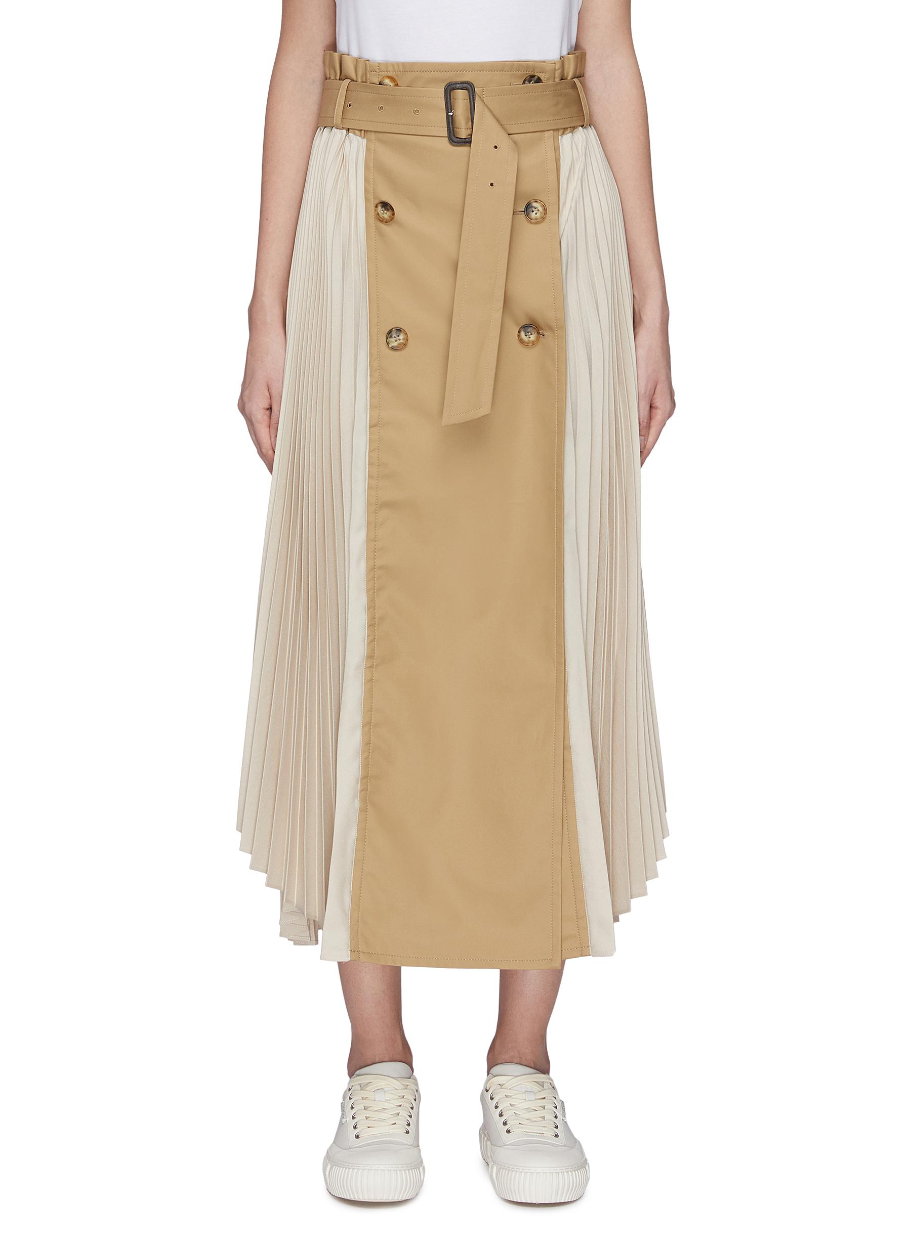 Buy The Keiji Skirts Pleated panel trench belted skirt