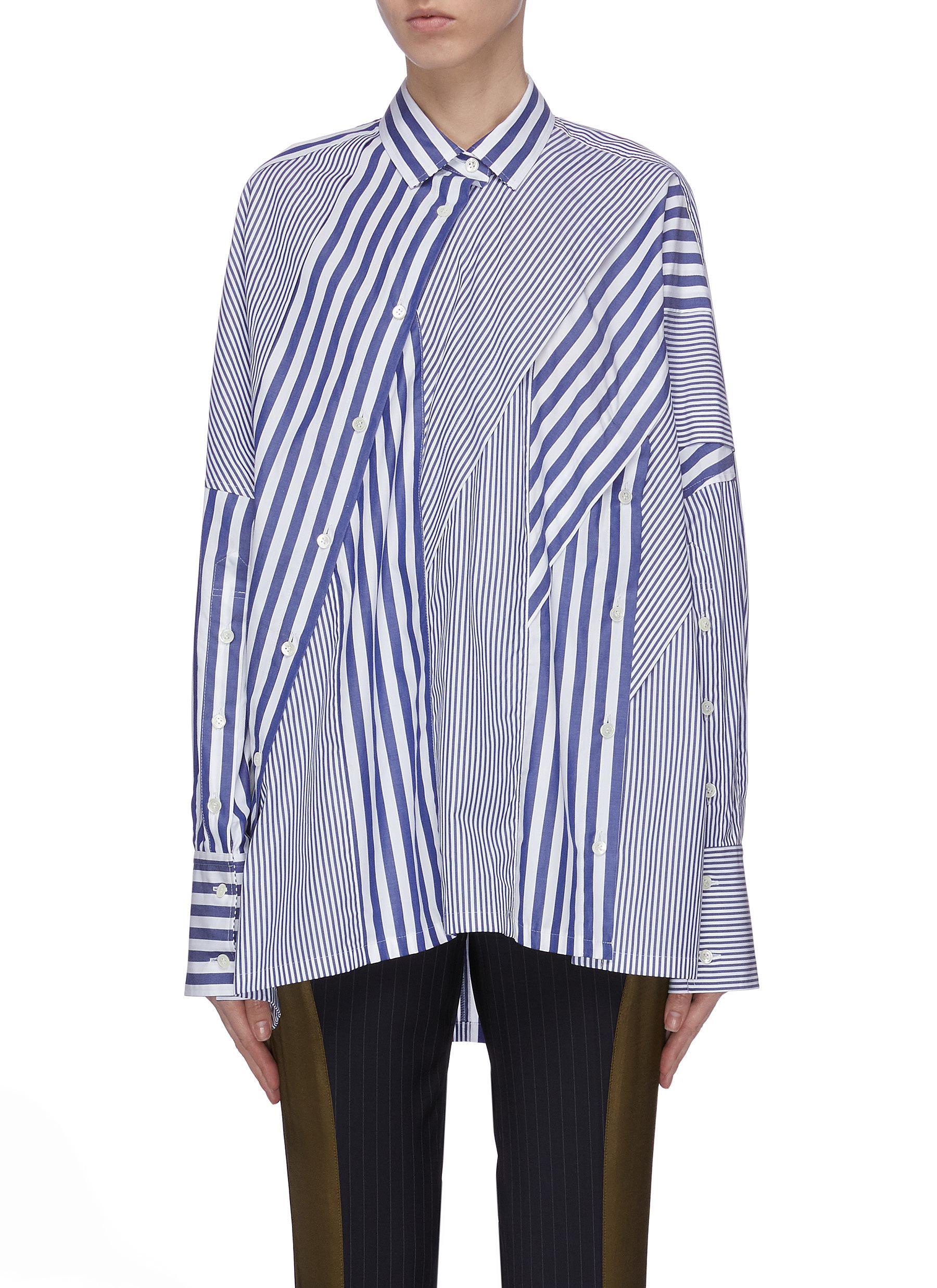 shop The Keiji Hybrid stripe shirt online
