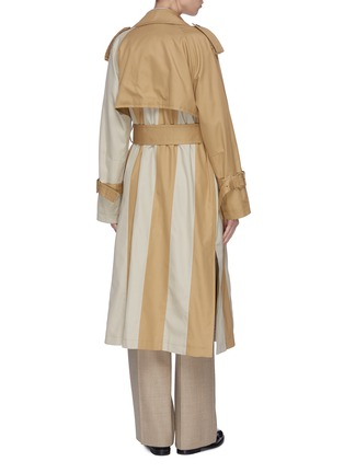 Back View - Click To Enlarge - THE KEIJI - Belted colourblock panel trench coat