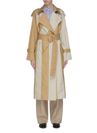Main View - Click To Enlarge - THE KEIJI - Belted colourblock panel trench coat