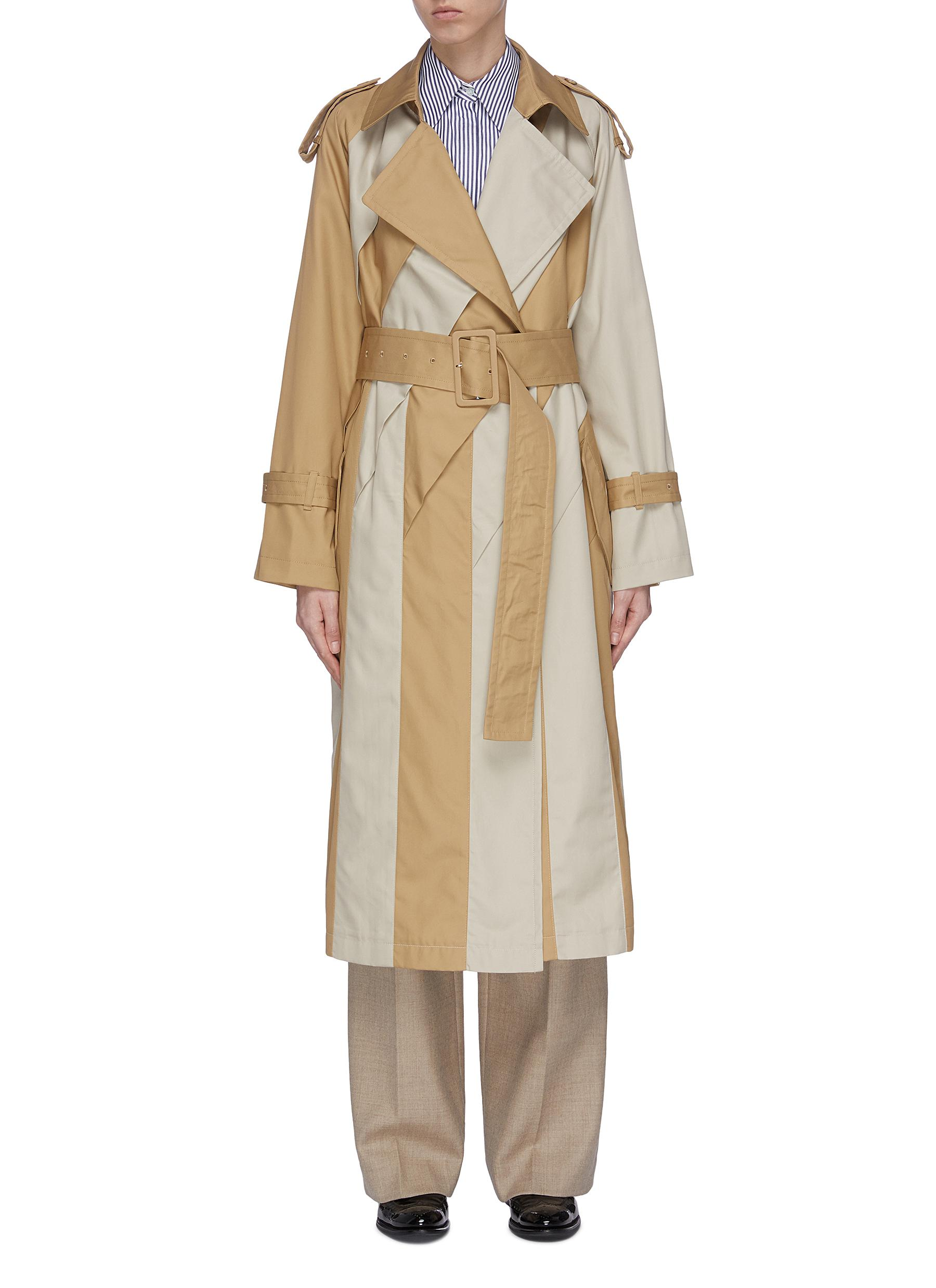 shop The Keiji Belted colourblock panel trench coat online