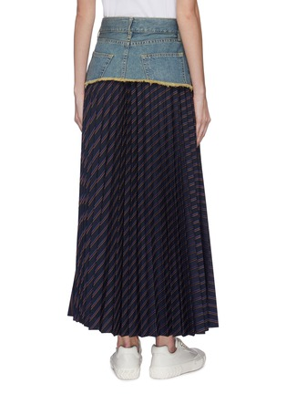 Back View - Click To Enlarge - THE KEIJI - Denim panel stripe pleated skirt