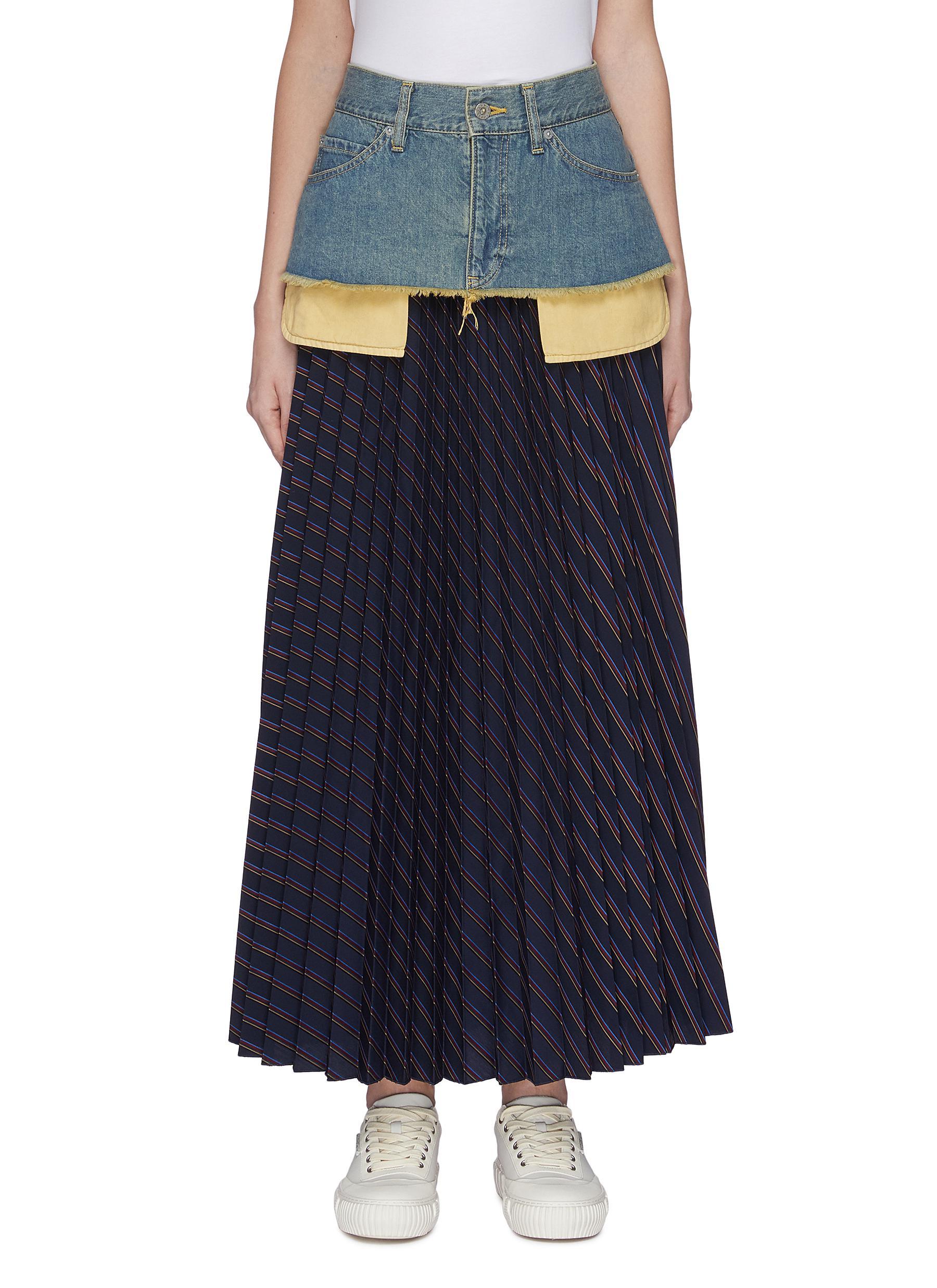 shop The Keiji Denim panel stripe pleated skirt online