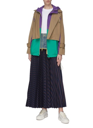 Figure View - Click To Enlarge - THE KEIJI - Denim panel stripe pleated skirt