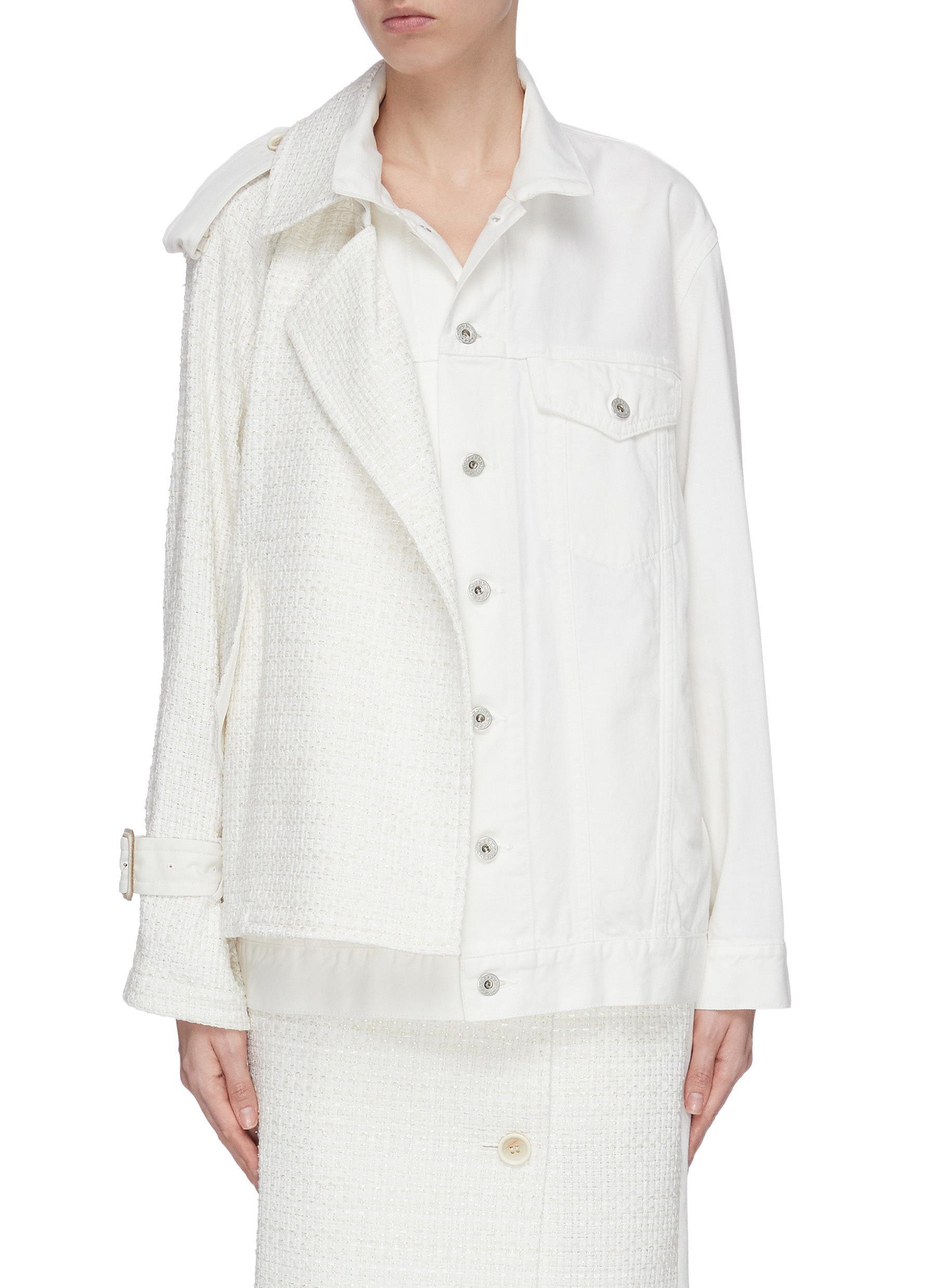 Buy The Keiji Jackets Tweed panel denim jacket
