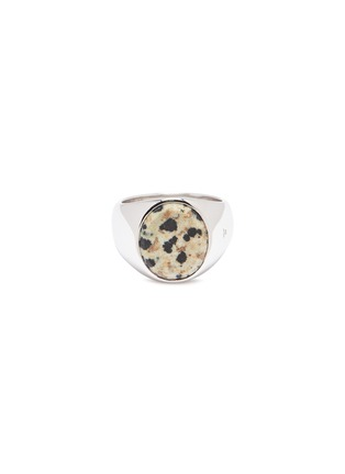 Main View - Click To Enlarge - TOM WOOD - 'Oval Leopard' jasper stone silver signet ring – Size 58