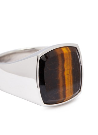 Detail View - Click To Enlarge - TOM WOOD - 'Cushion Tiger Eye' stone silver signet ring – Size 58