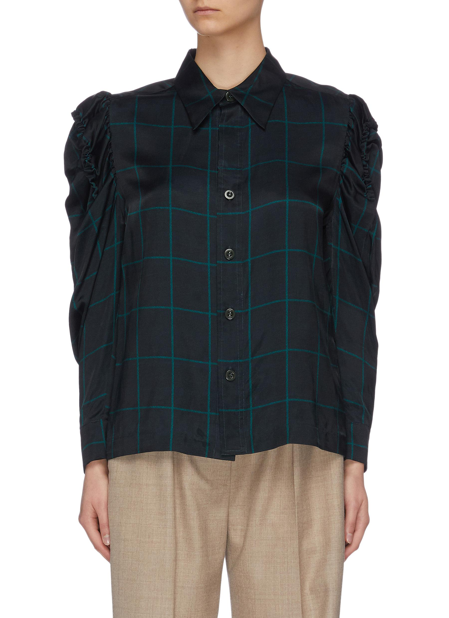 shop Toga Archives Puff Sleeve Check Print Shirt online