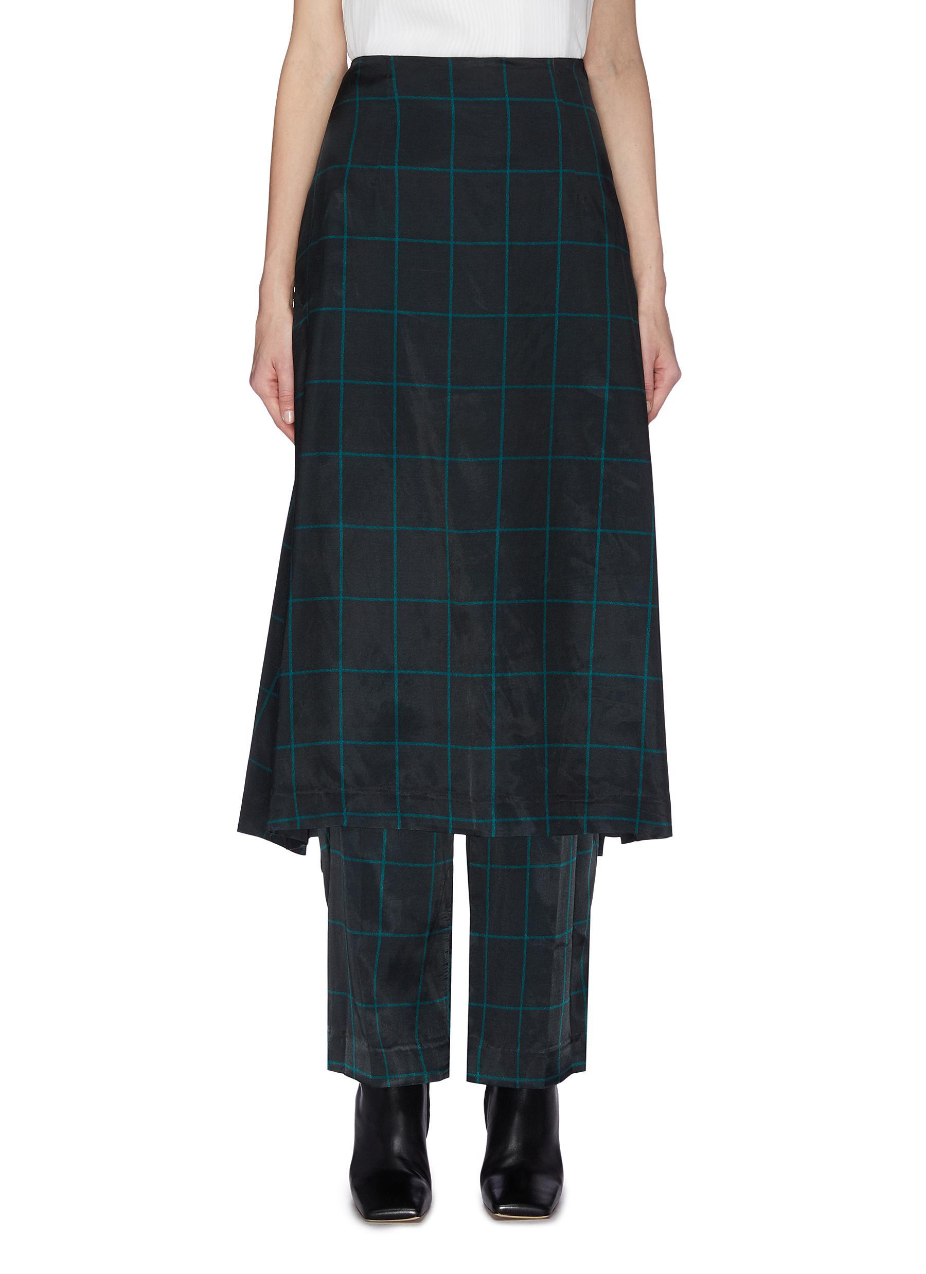 shop Toga Archives Check print pants skirt online