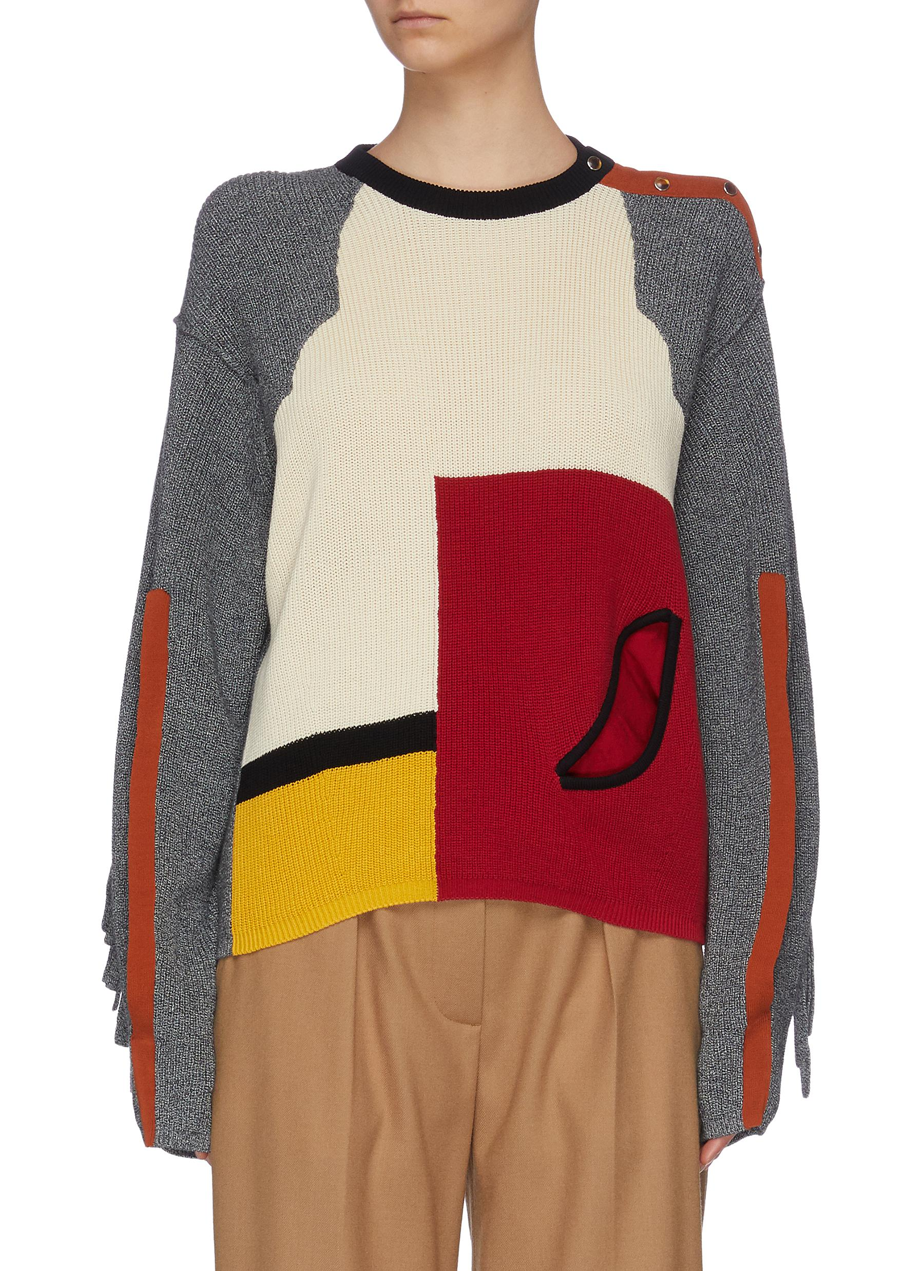 Buy Toga Archives Knitwear Colourblock panelled slit sleeve sweater
