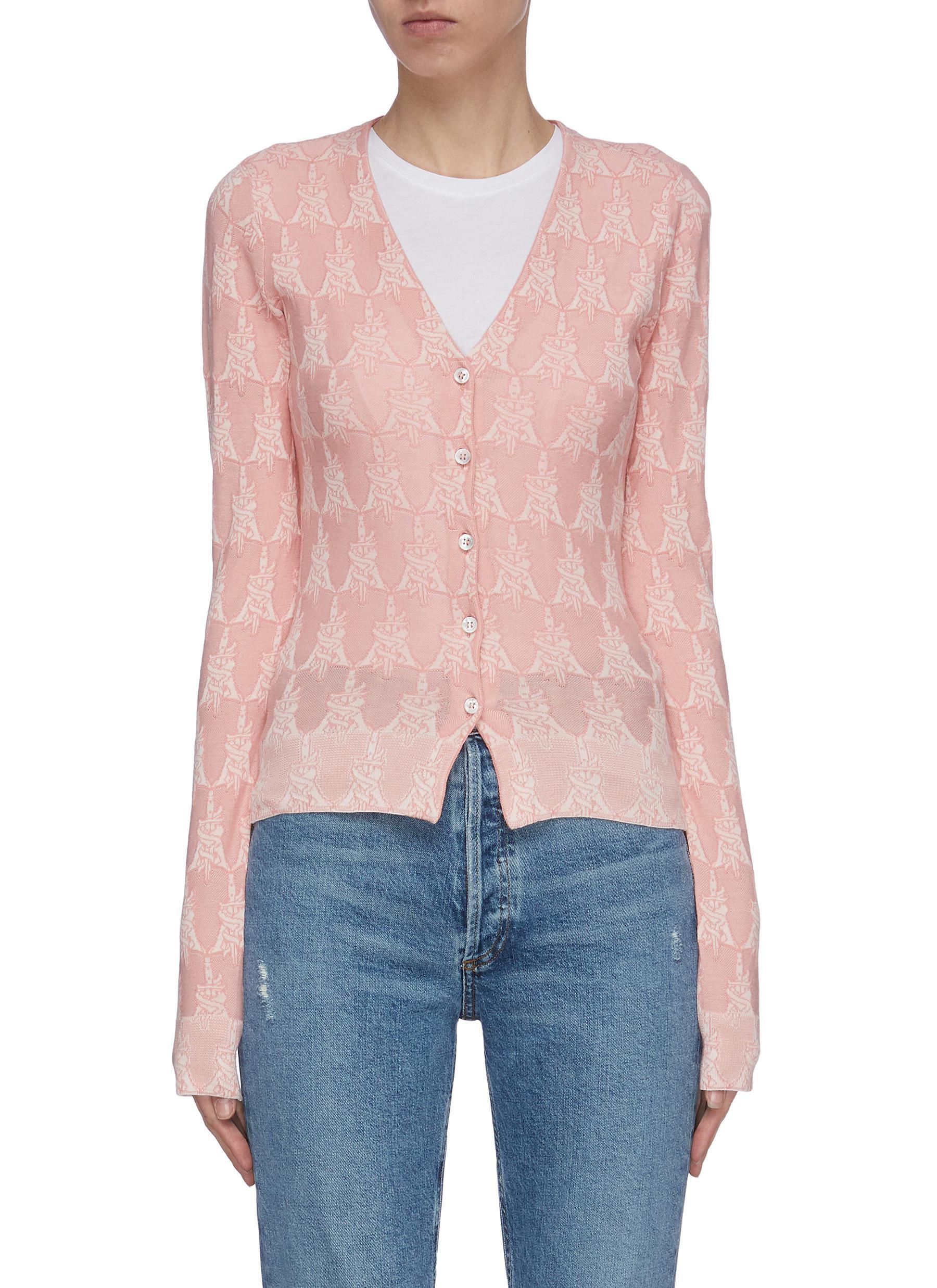 Buy Amiri Knitwear Dagger monogram intarsia cardigan