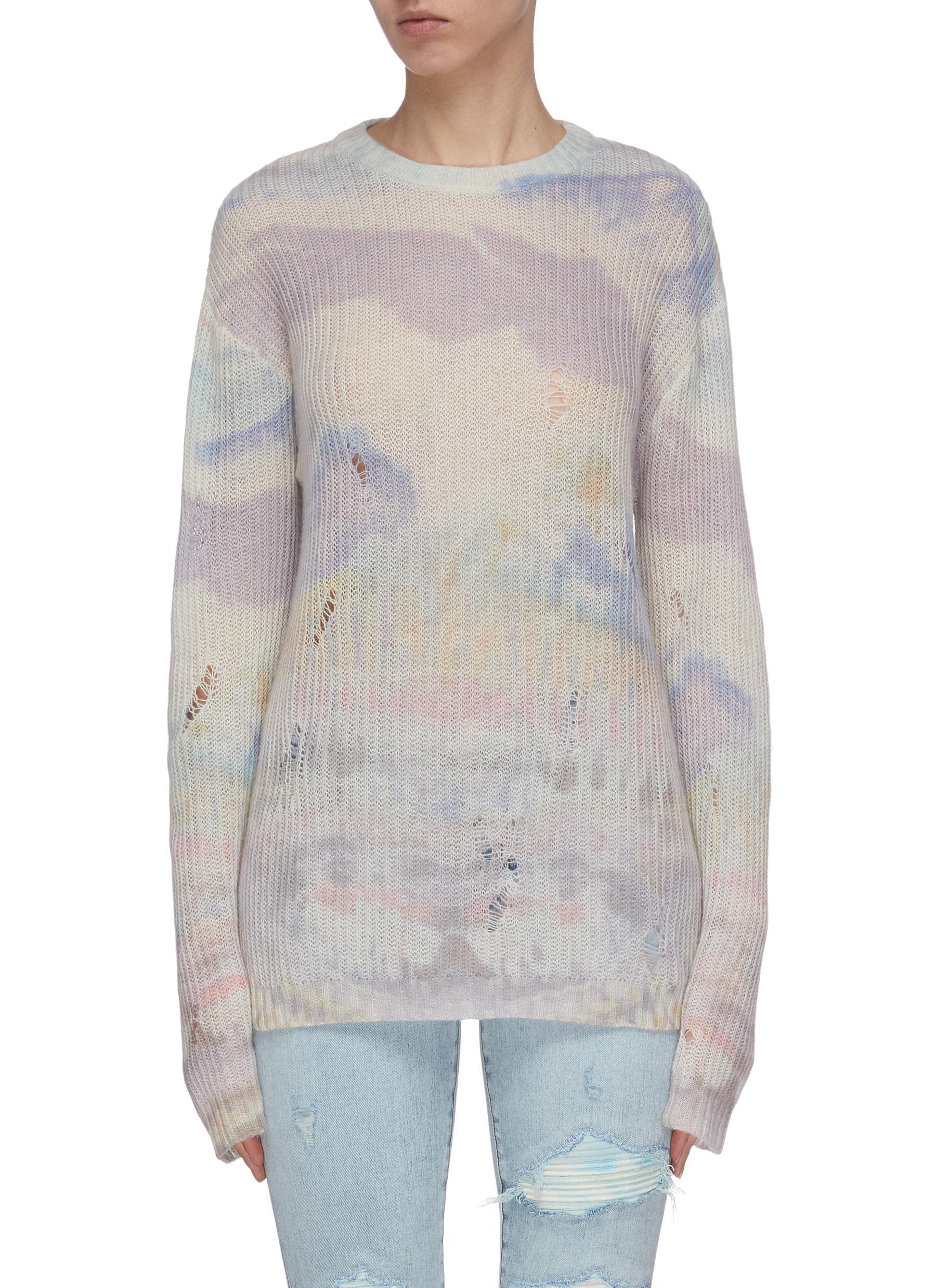 shop Amiri Tie dye distressed sweater online