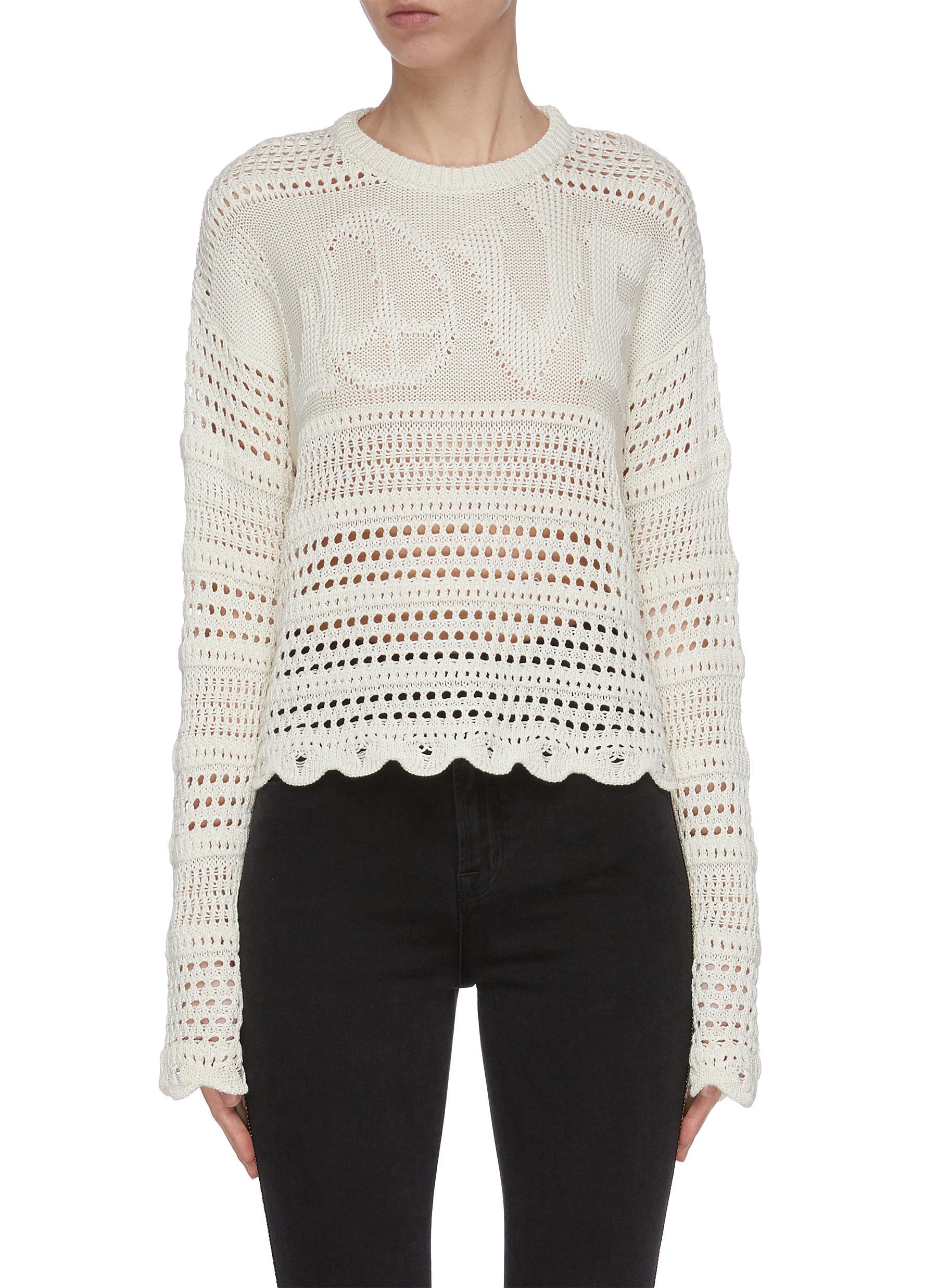 shop Amiri 'Love' crochet sweater online