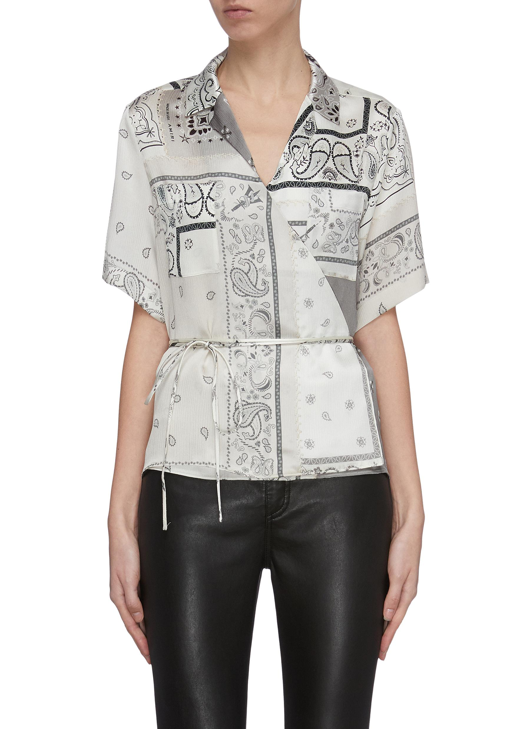 shop Amiri Reconstructed bandana print belted wrap-around shirt online