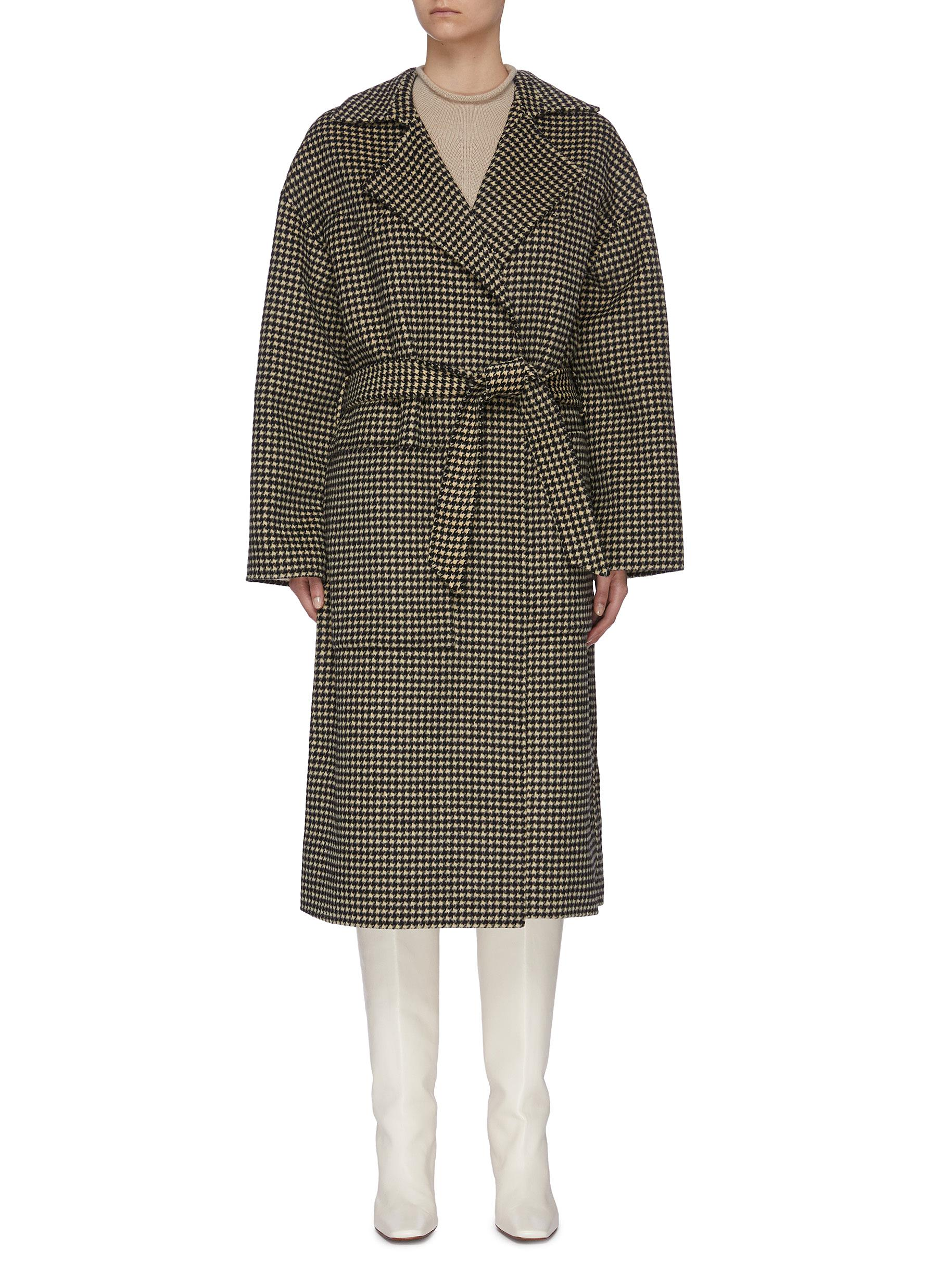 shop Nanushka 'Alamo' Houndstooth Wrap Coat online