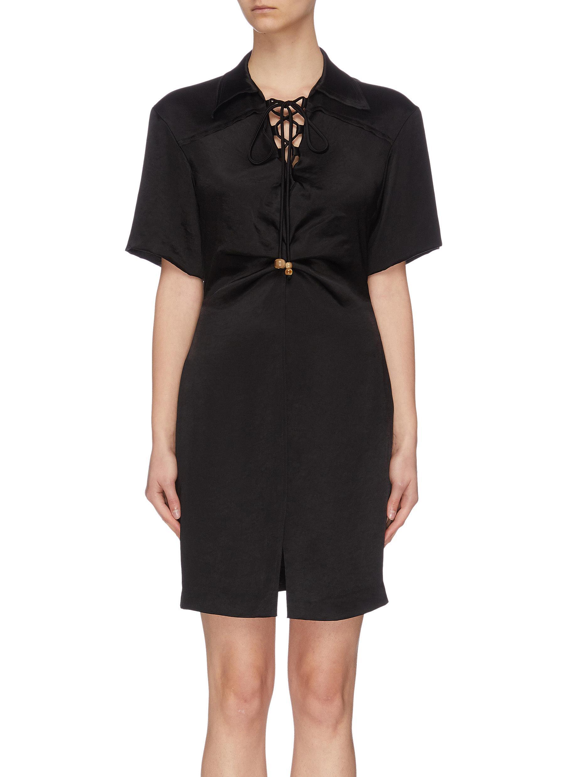 shop Nanushka 'Etta' lace up shirt dress online