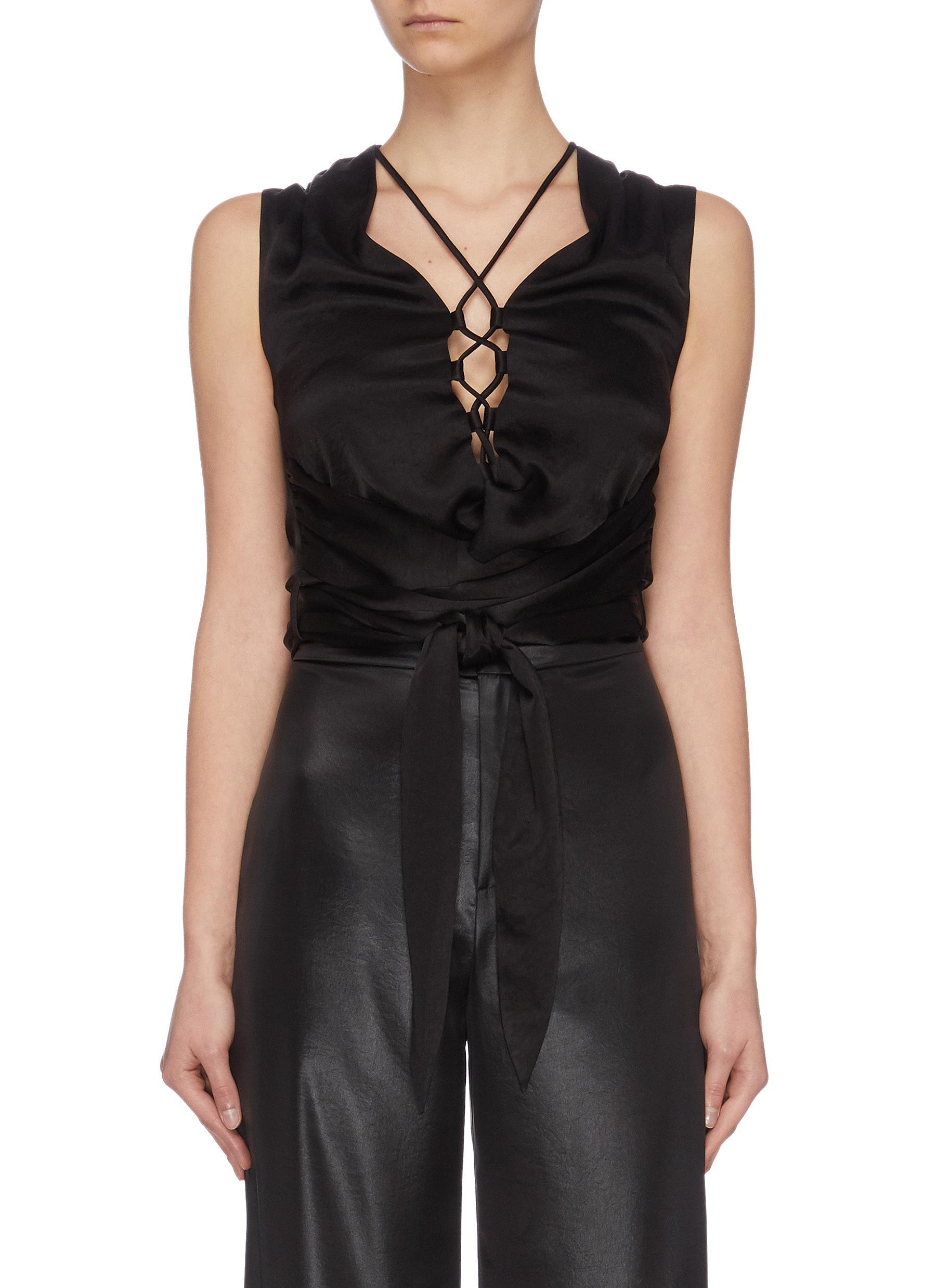 shop Nanushka 'Corsica' lace up sleeveless top online